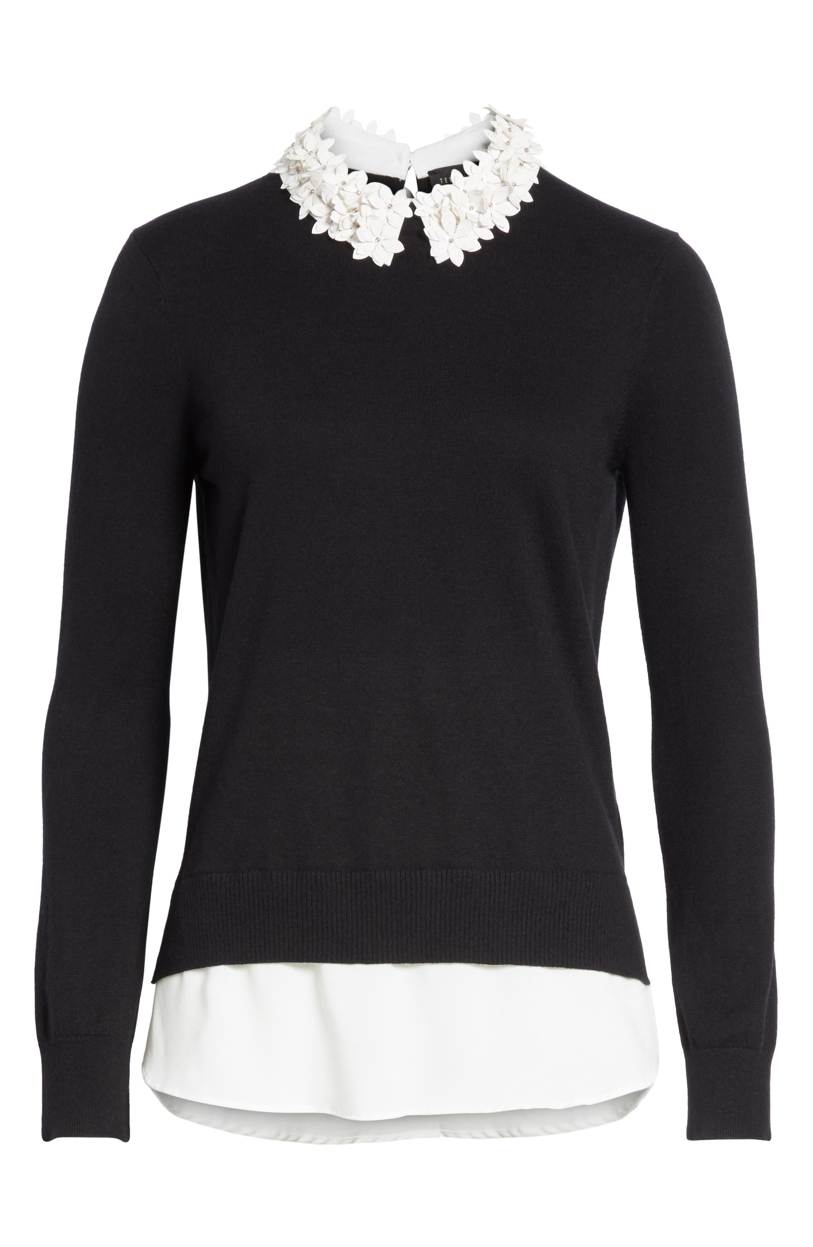 Floral Collar Sweater,                             Alternate thumbnail 6, color,