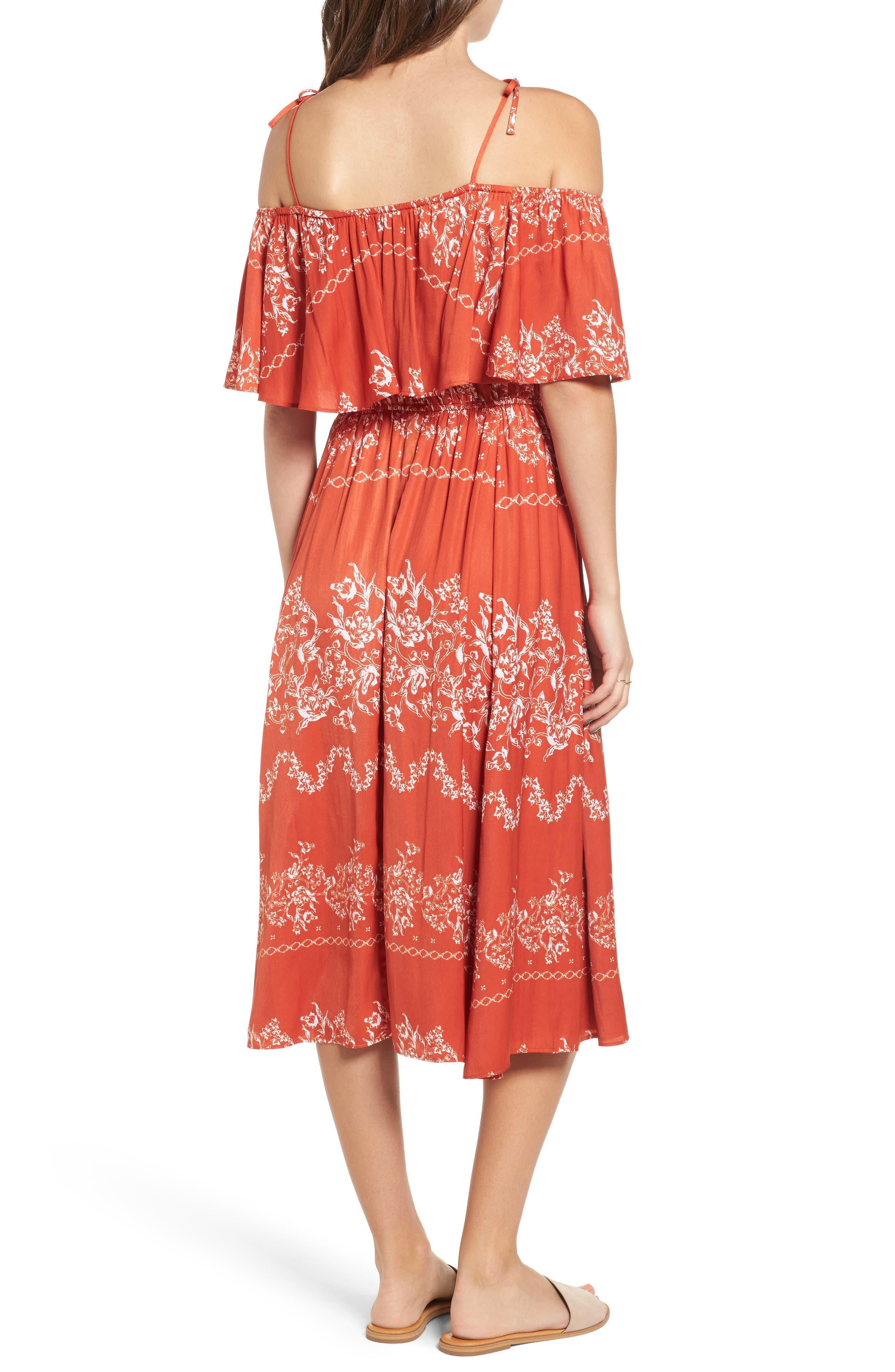 Jacqui Floral Print Cold Shoulder Dress,                             Alternate thumbnail 2, color,                             600