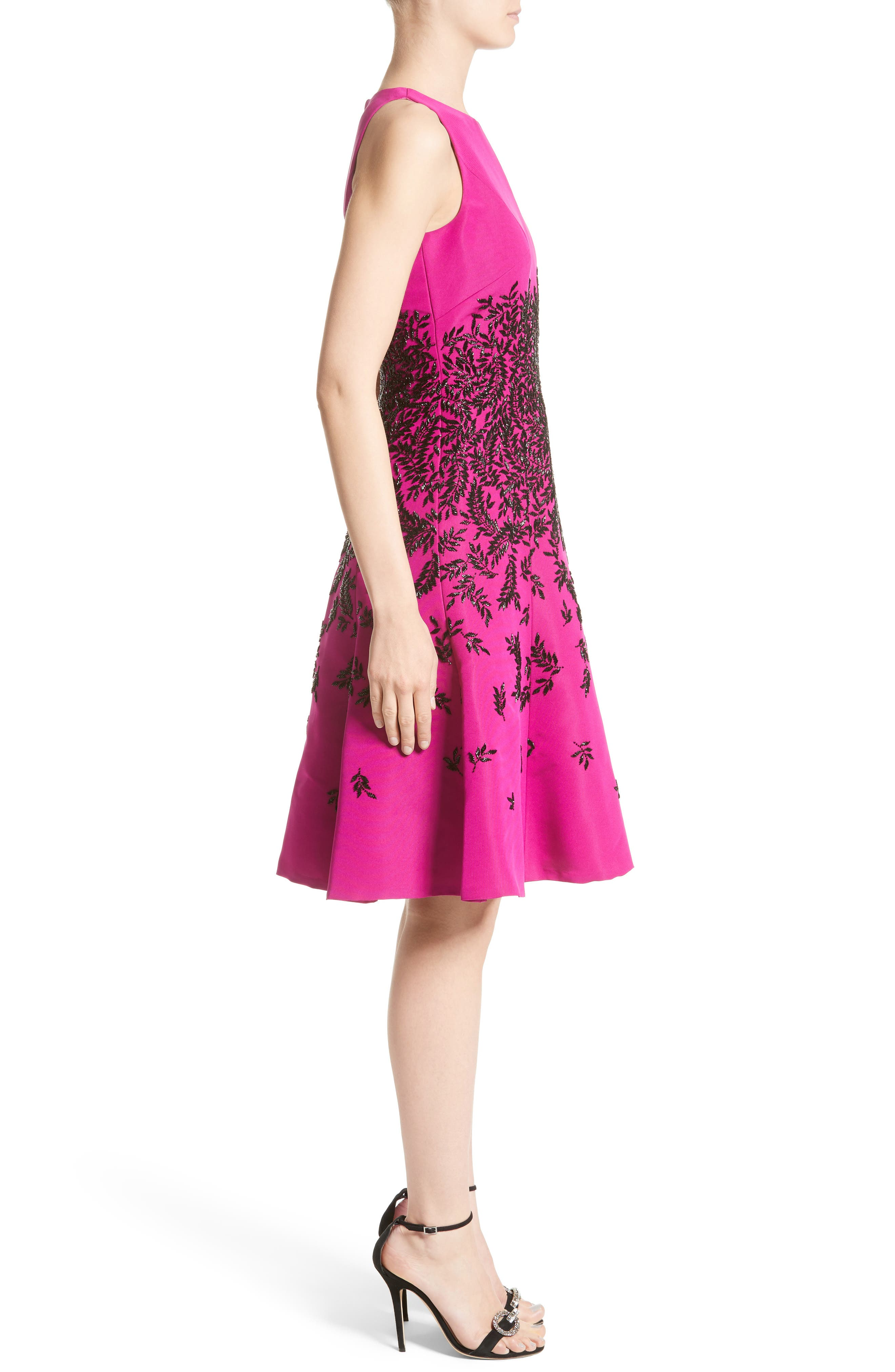 Beaded Fit & Flare Dress,                             Alternate thumbnail 3, color,                             671