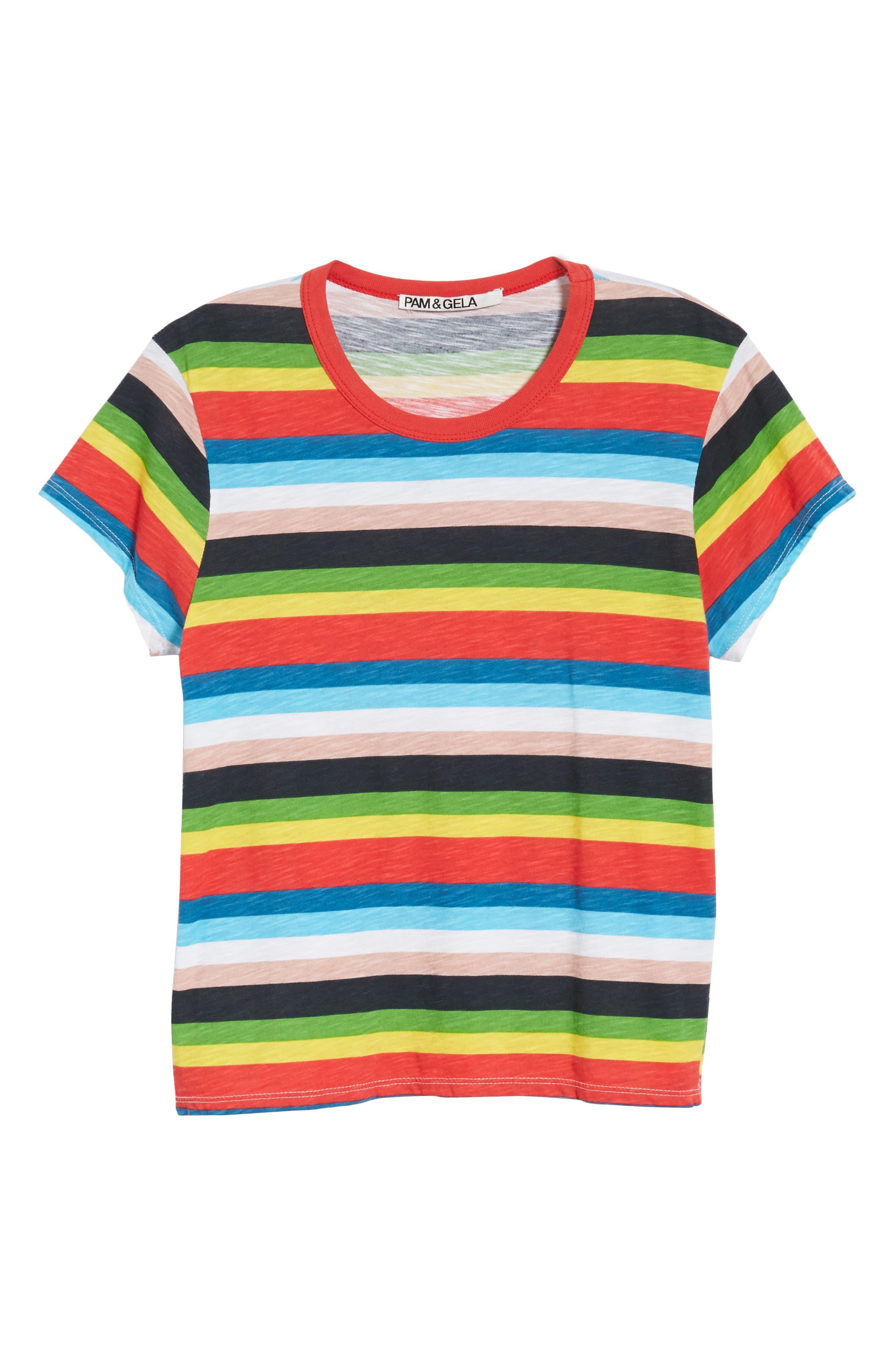Rainbow Stripe Ringer Tee,                             Alternate thumbnail 7, color,                             950