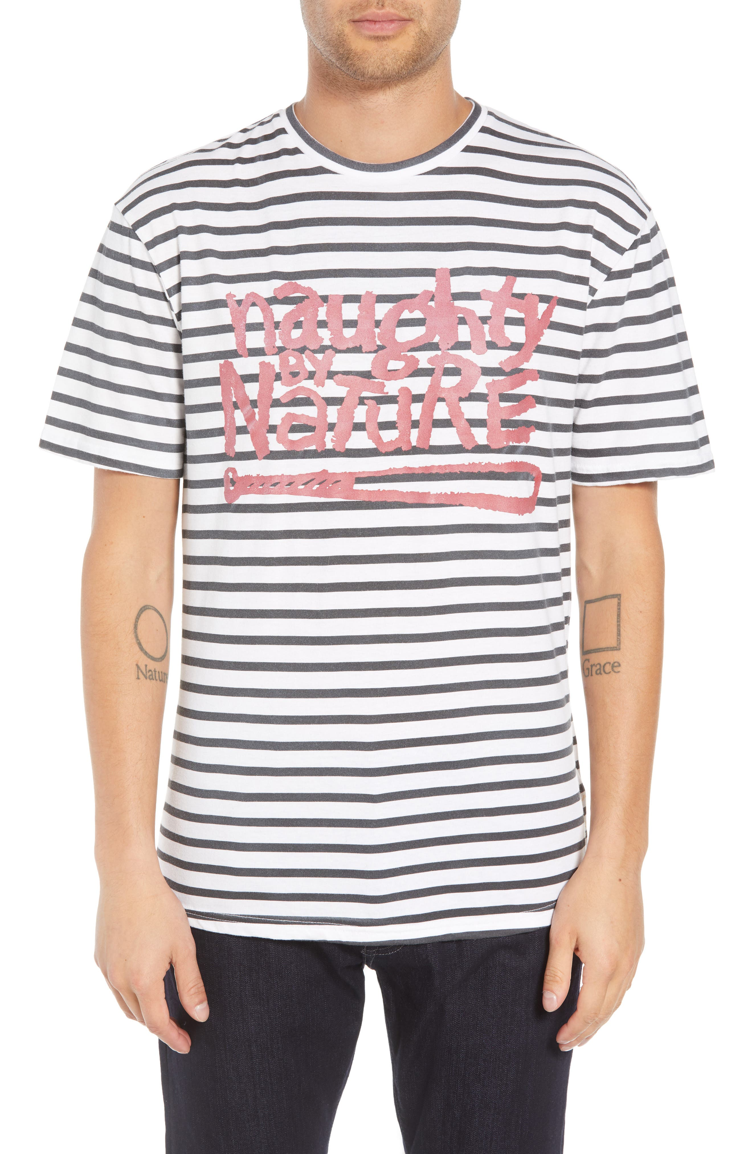ELEVENPARIS Naughty By Nature Striped Graphic T-Shirt in White