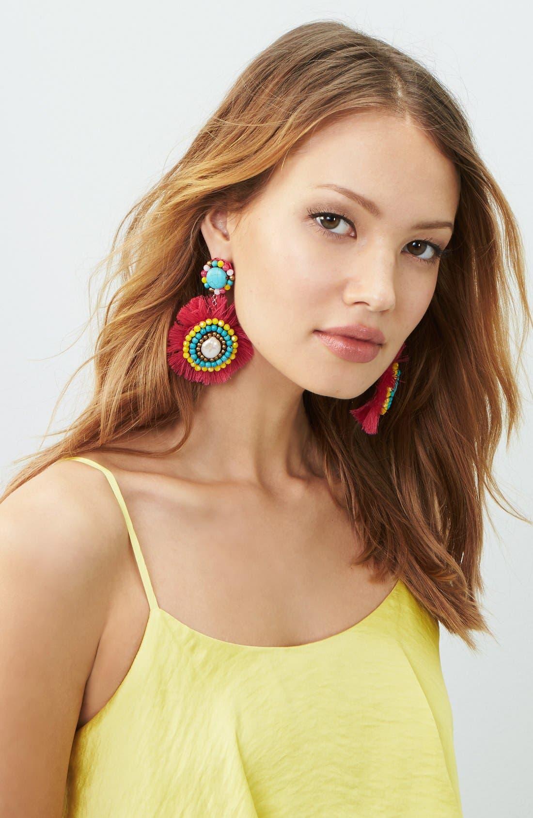 Fringe Statement Earrings, Main, color, 650