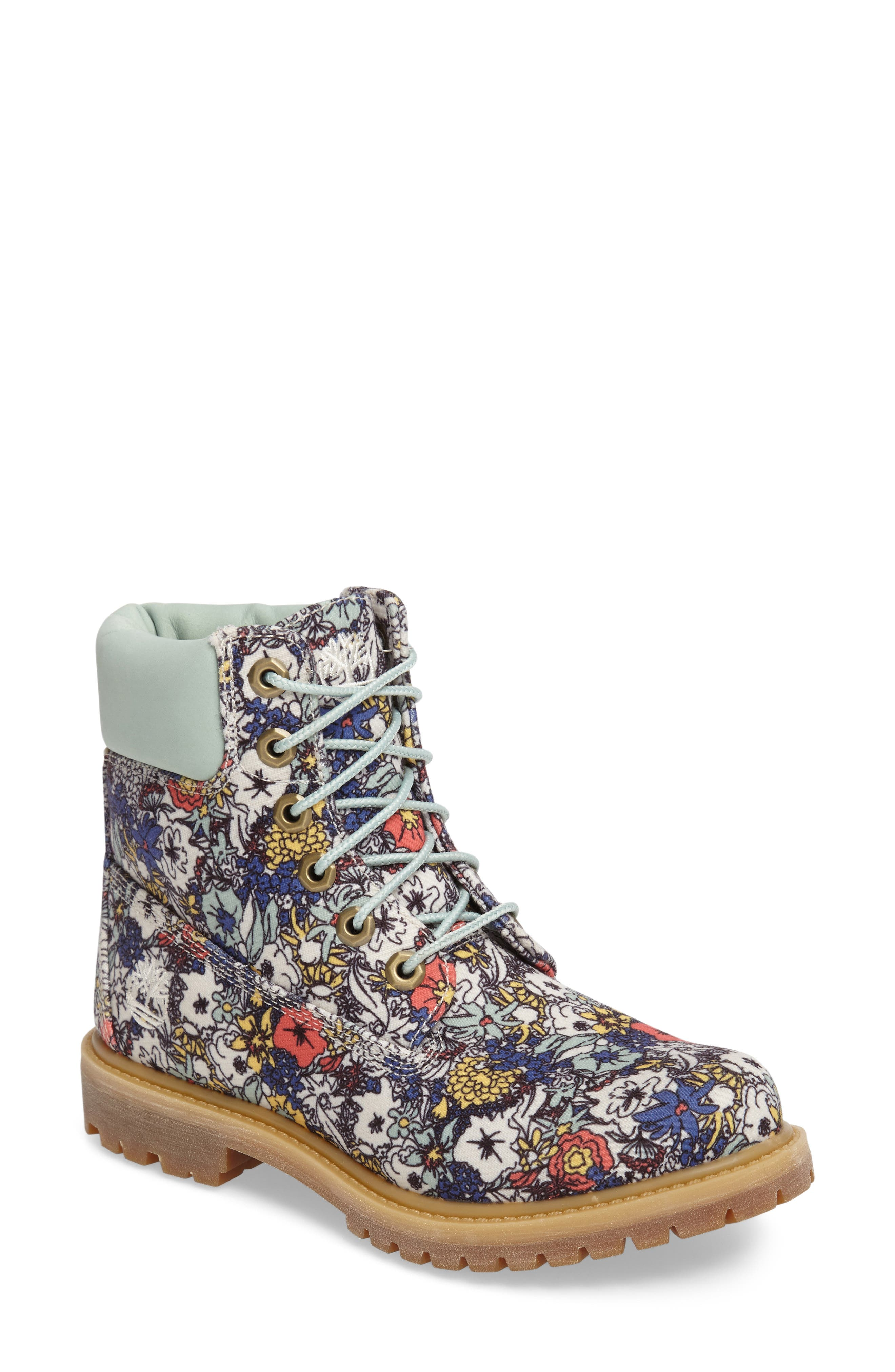6 Inch Premium Floral Print Boot, Main, color, 400