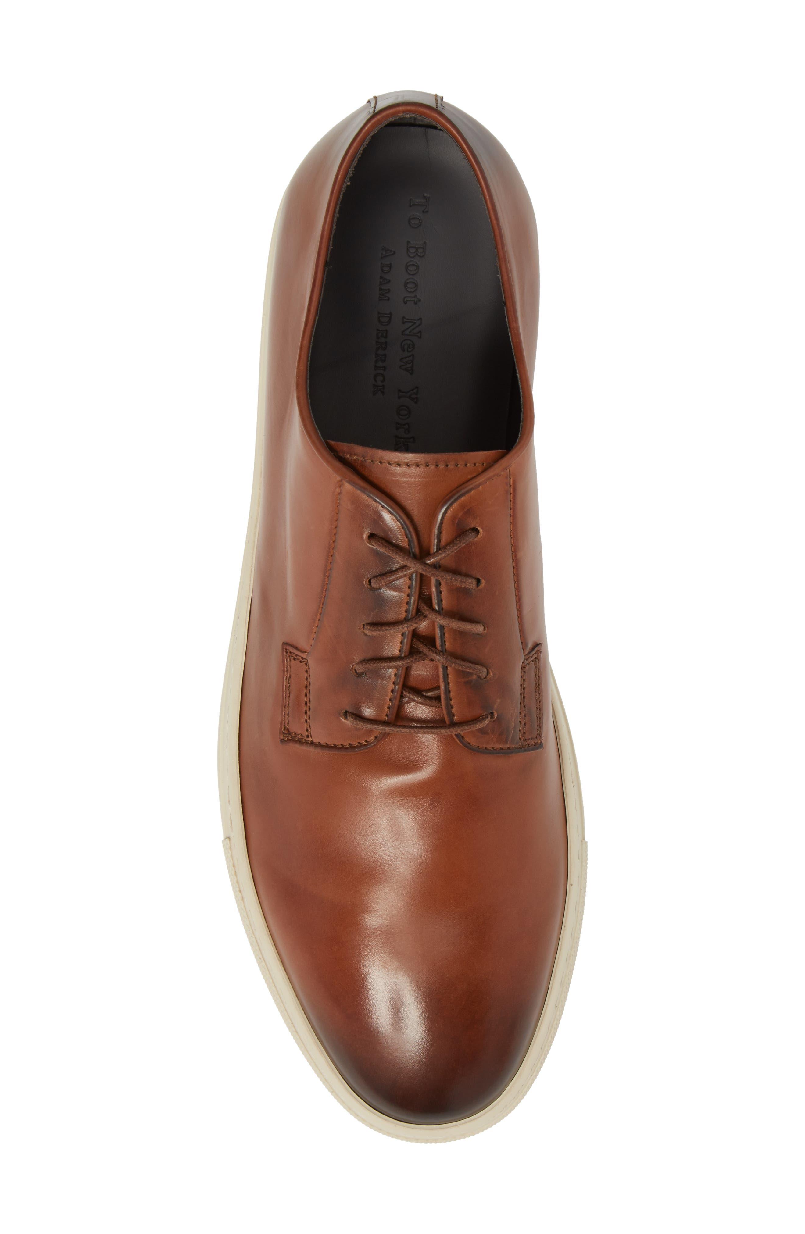 Plain Toe Derby Sneaker,                             Alternate thumbnail 5, color,                             DIVER TAN LEATHER
