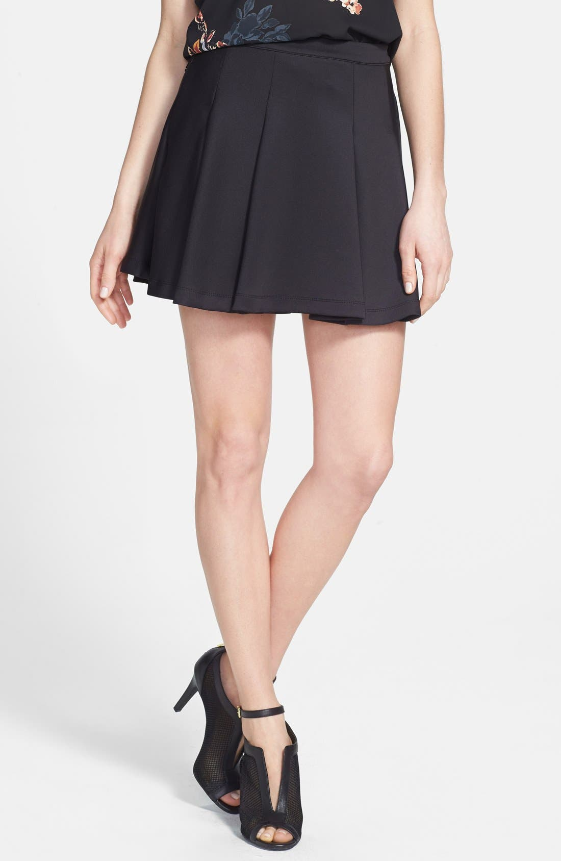 Pleat Jersey Skater Skirt,                         Main,                         color, 001