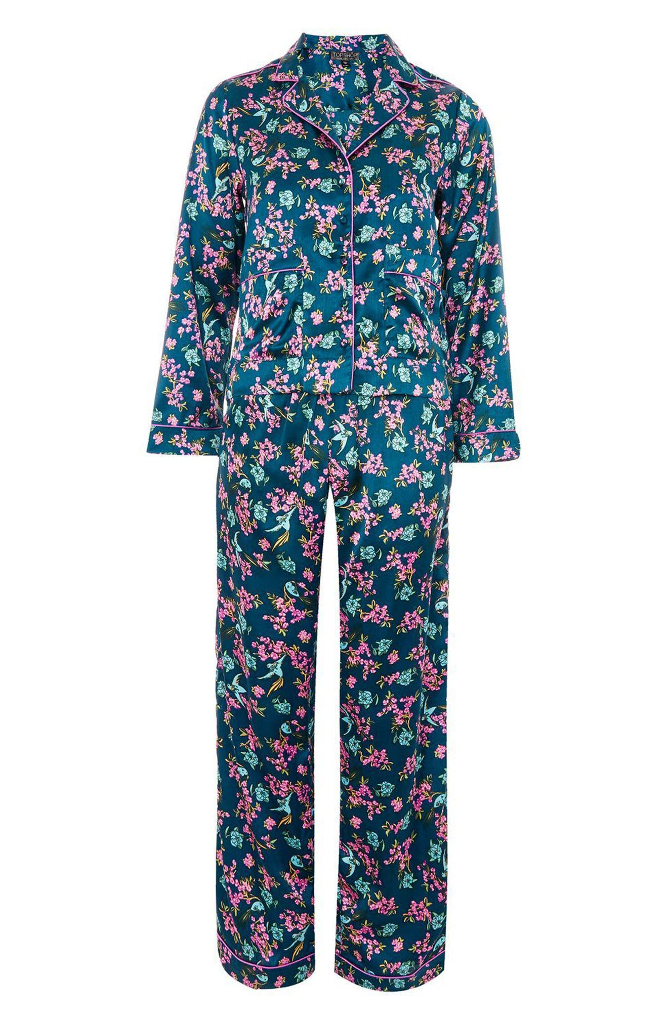 Bird Satin Pajamas,                             Alternate thumbnail 3, color,