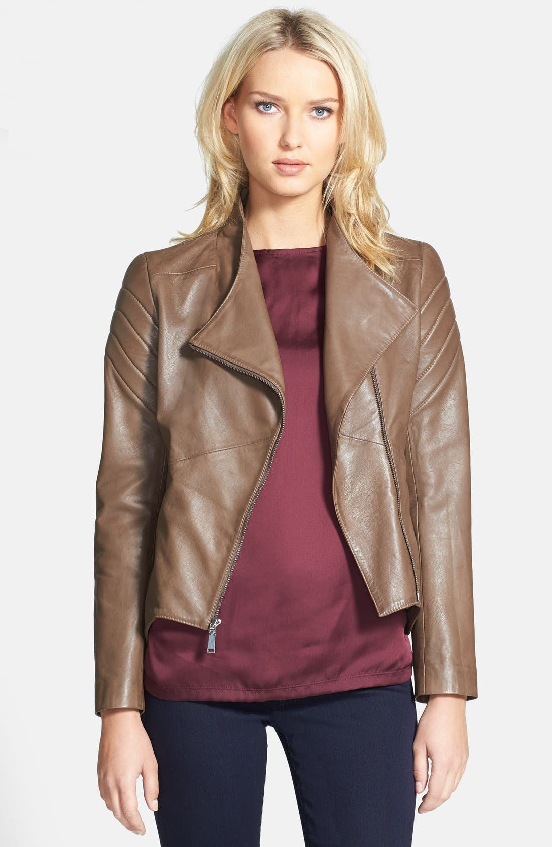 ELIE TAHARI 'Celeste' Asymmetrical Leather Moto Jacket, Main, color, 200
