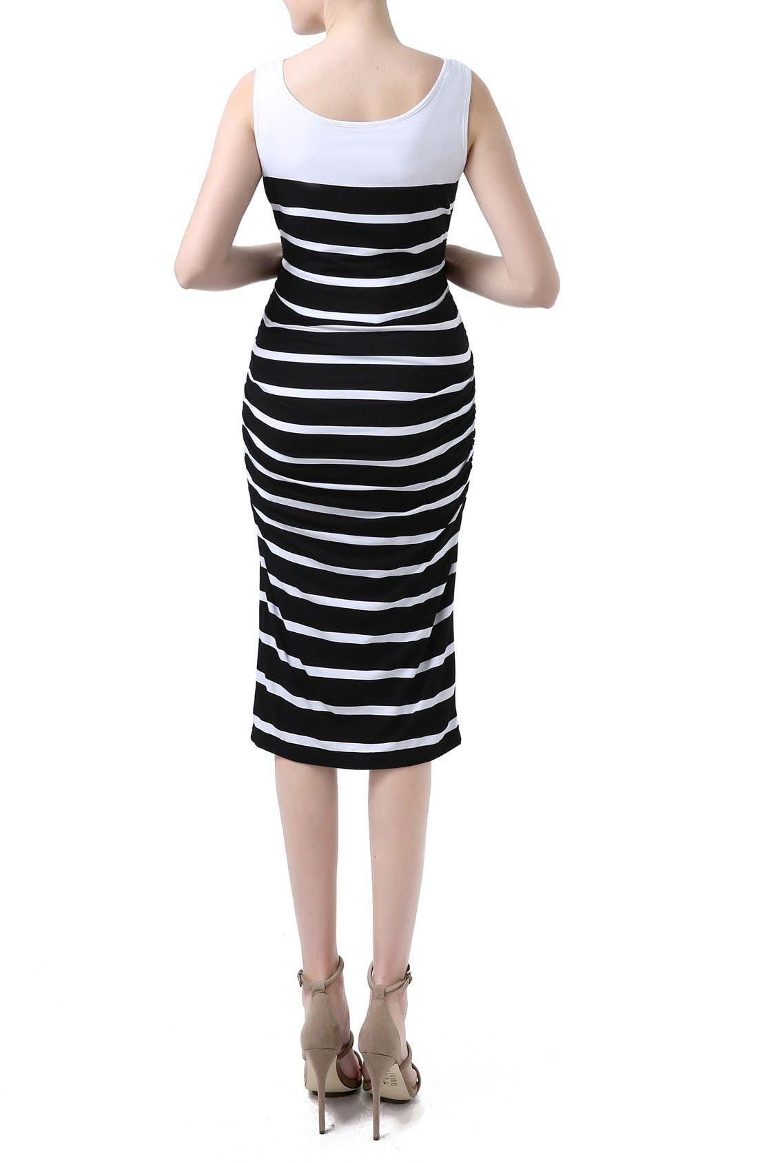 'Jackie' Stripe Sleeveless Maternity Midi Dress,                             Alternate thumbnail 2, color,                             002