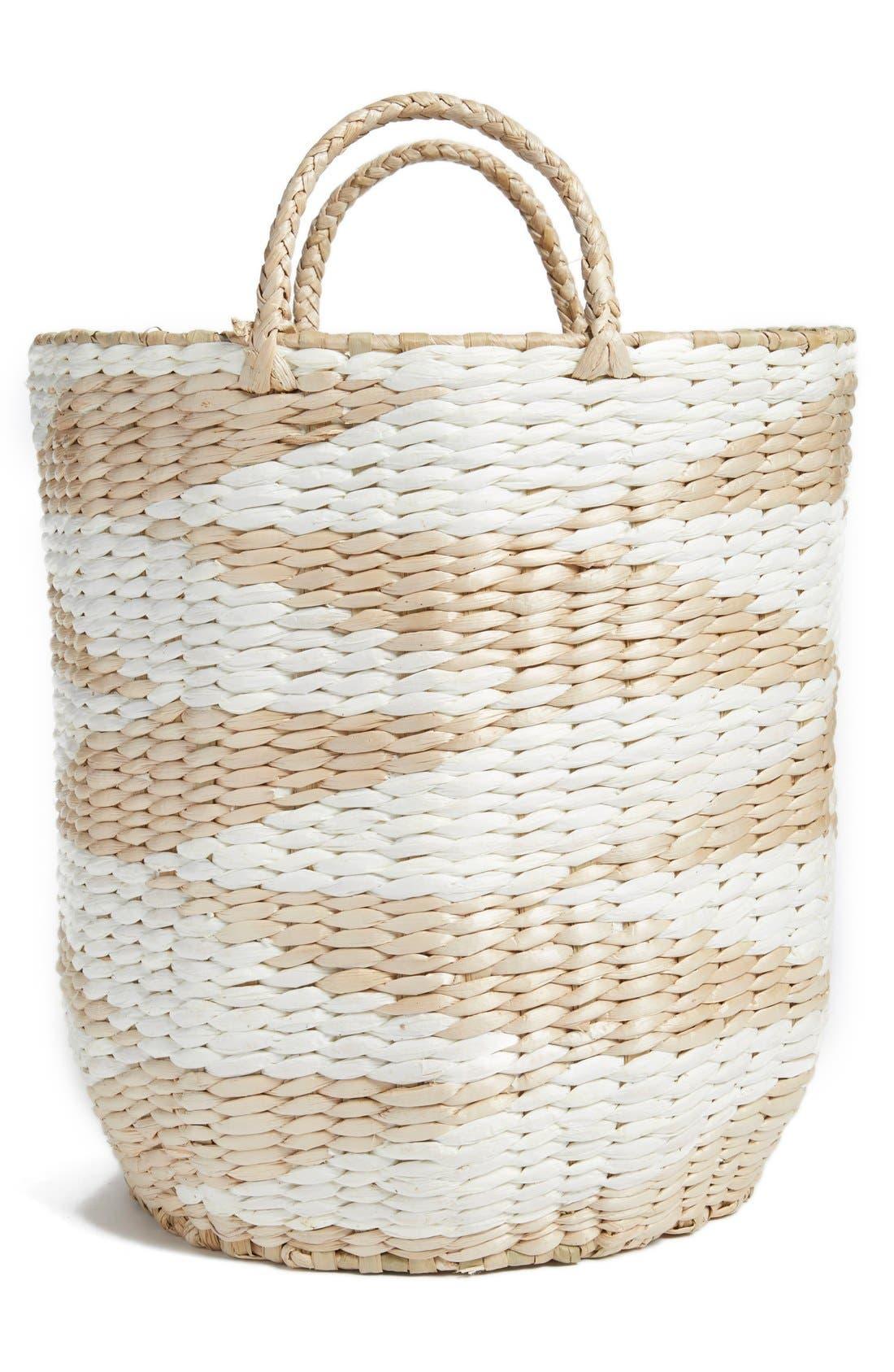 Diamond Straw Basket,                             Main thumbnail 1, color,                             100