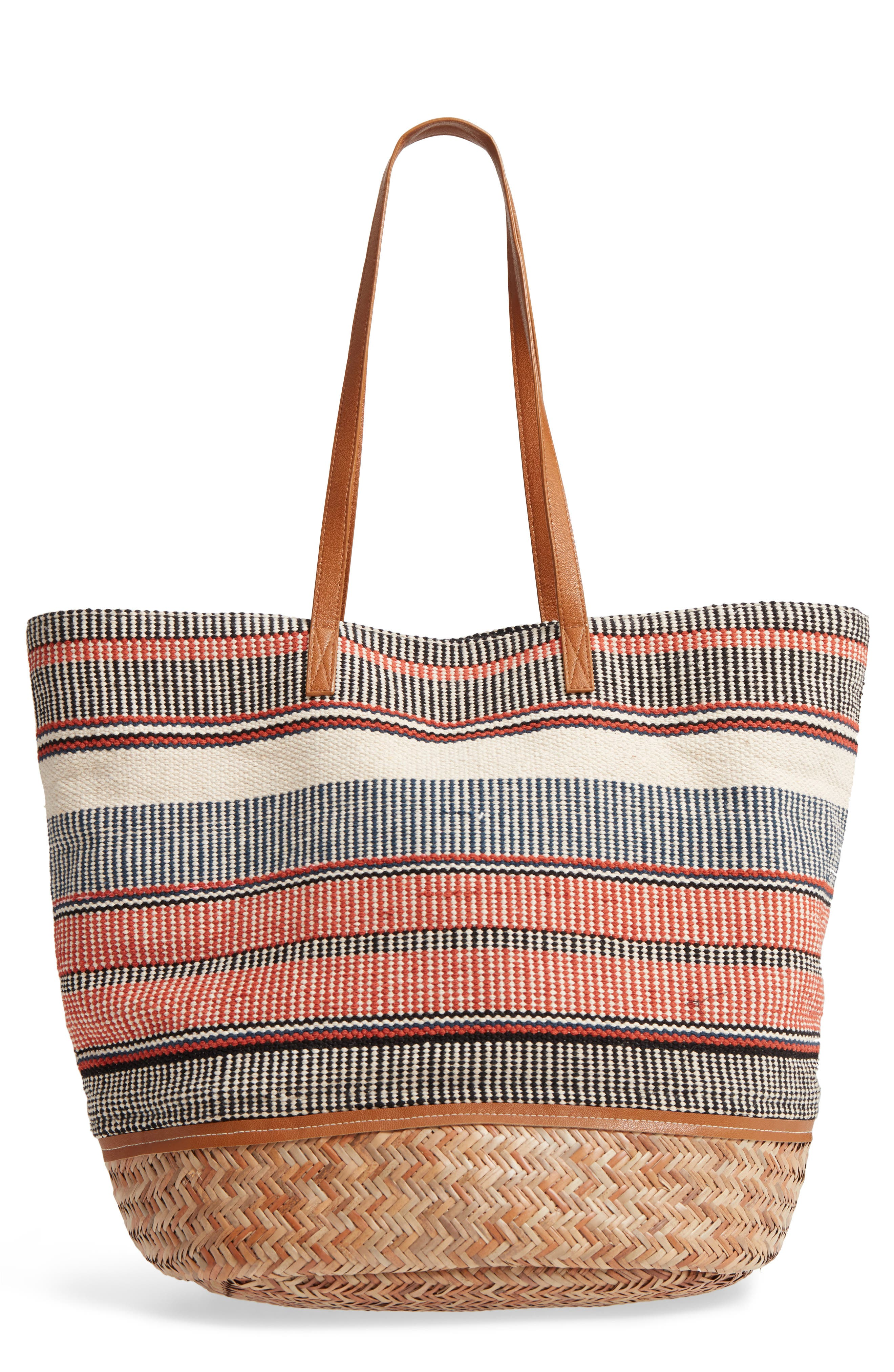 Oversized Fabric Tote,                             Main thumbnail 1, color,                             PINK MULTI