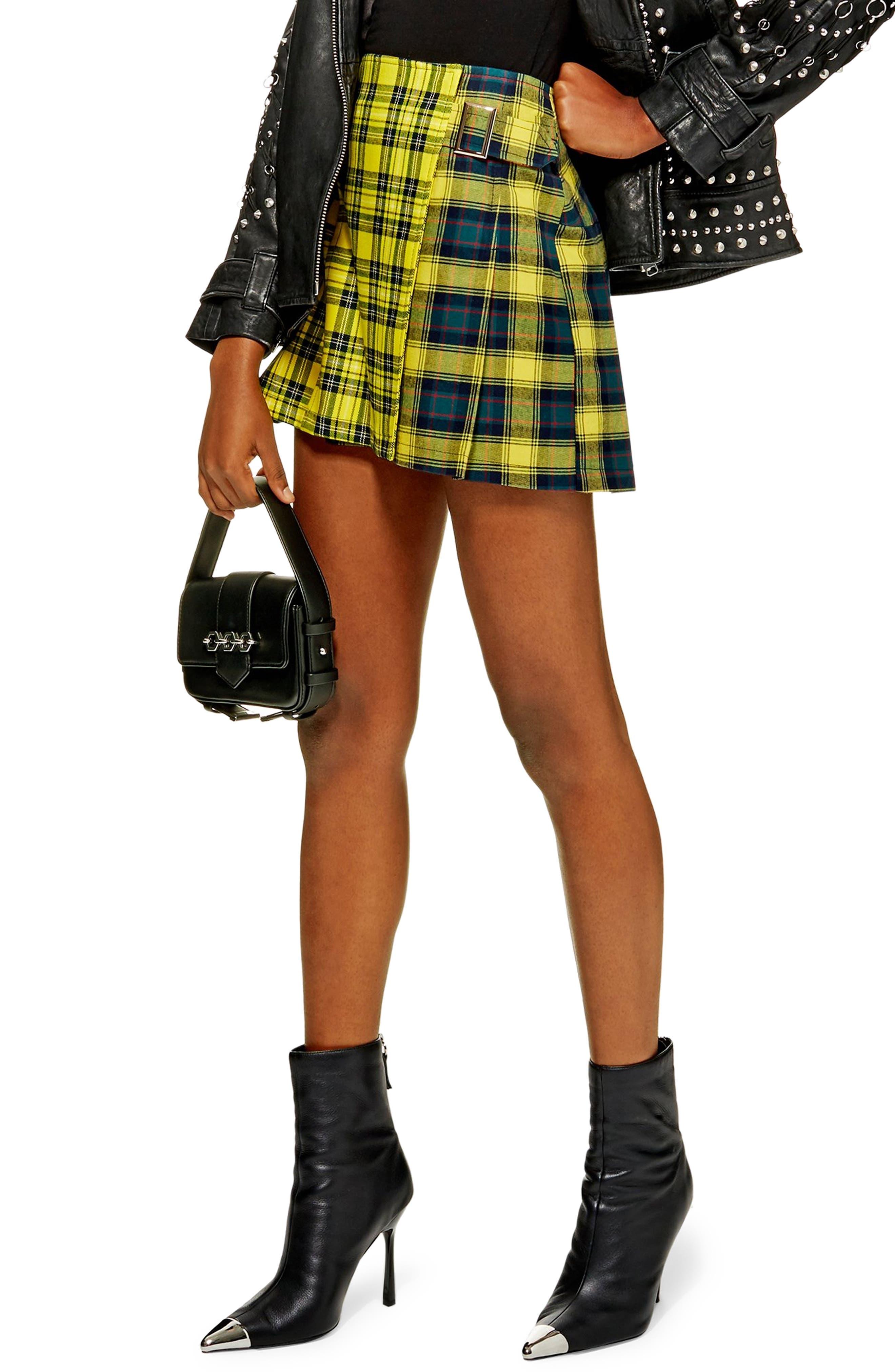 Mix Check Kilt Miniskirt,                         Main,                         color, YELLOW MULTI