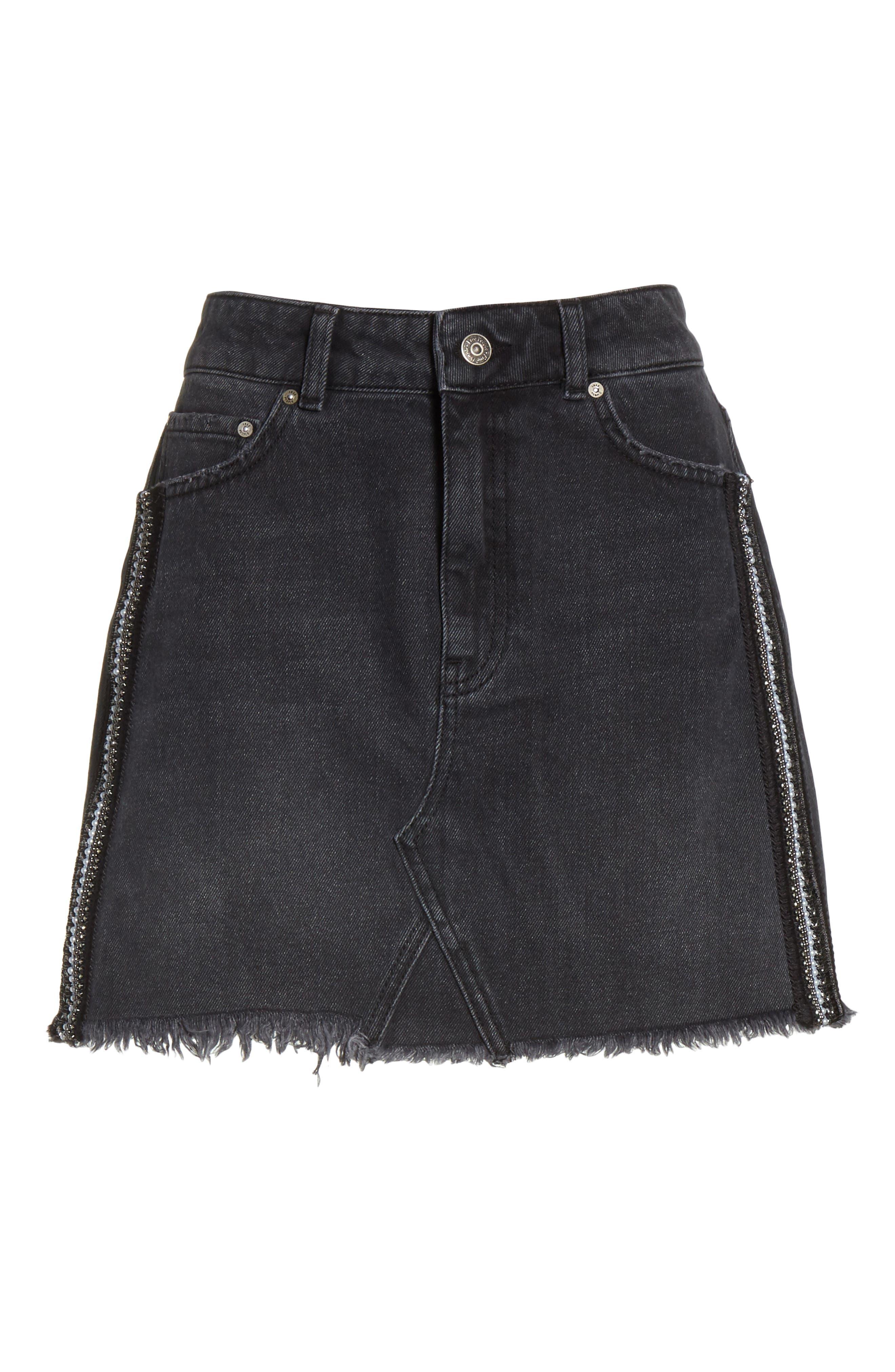 FREE PEOPLE,                             Stripe Cutoff Denim Miniskirt,                             Alternate thumbnail 6, color,                             001
