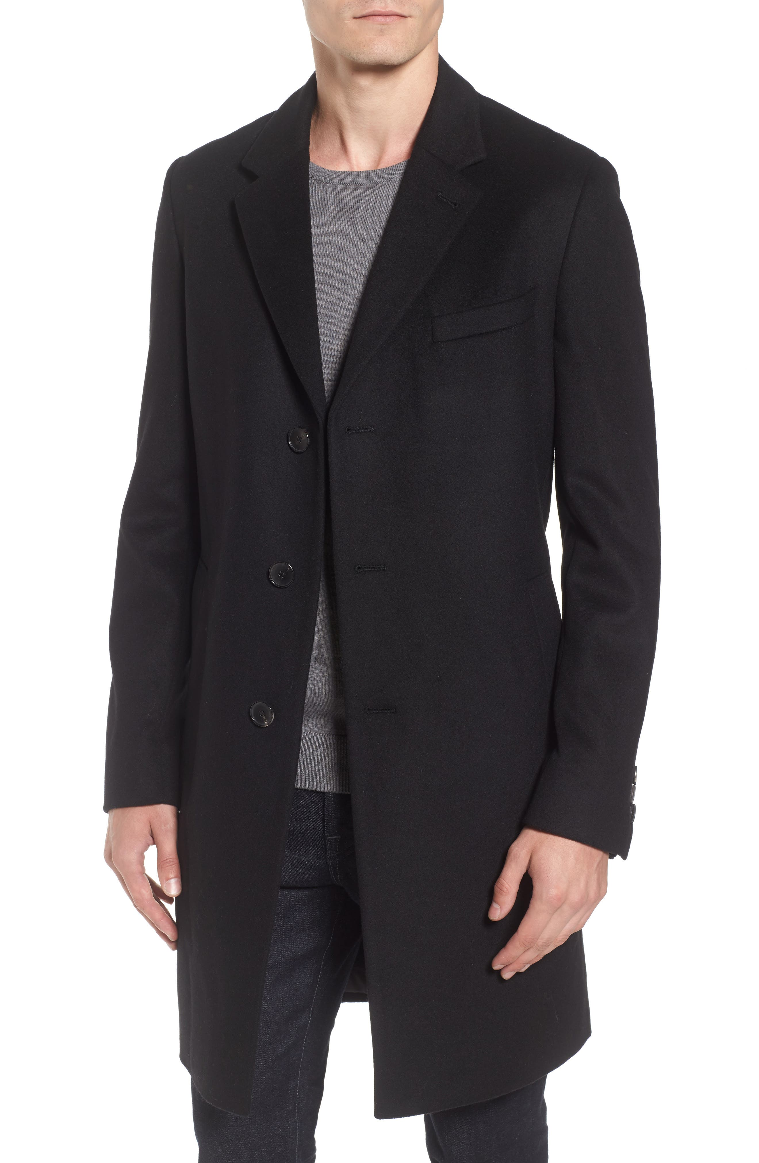 Nye Wool & Cashmere Topcoat,                         Main,                         color, 001