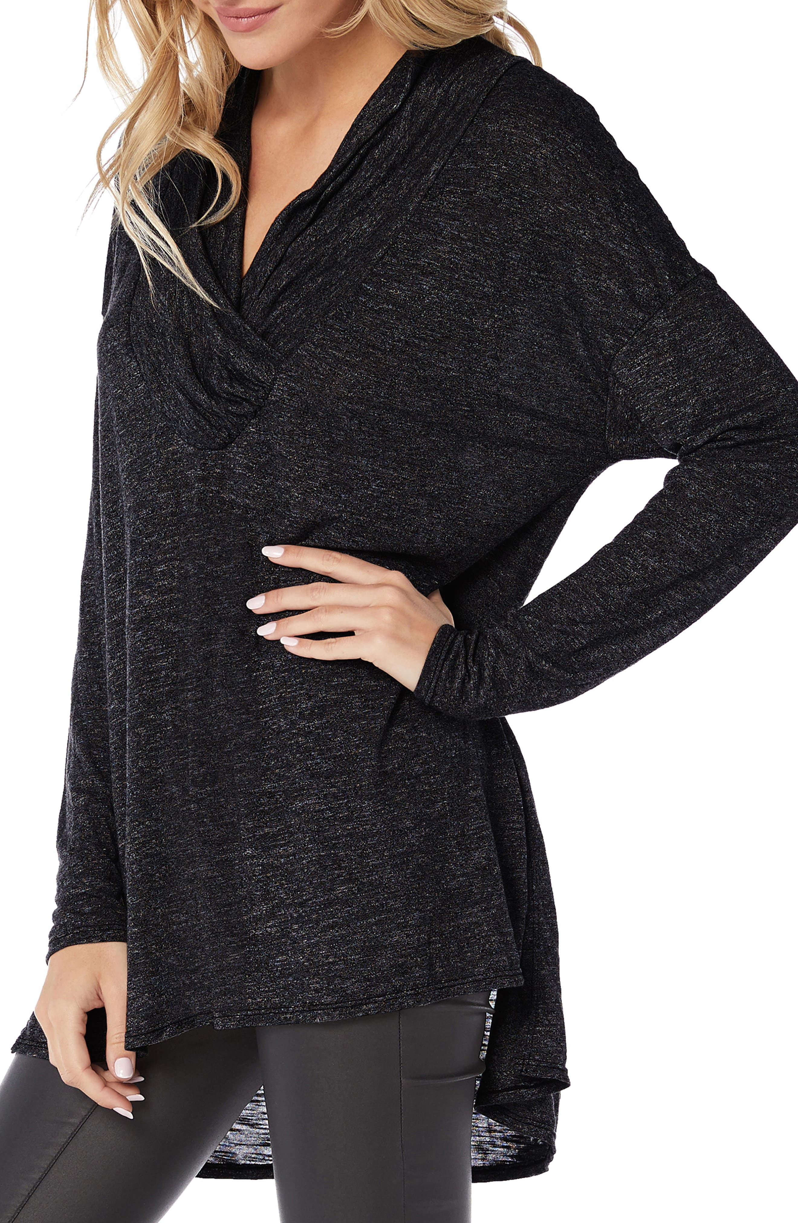 Brooklyn Surplice Jersey Tunic Top,                             Alternate thumbnail 3, color,                             BLACK