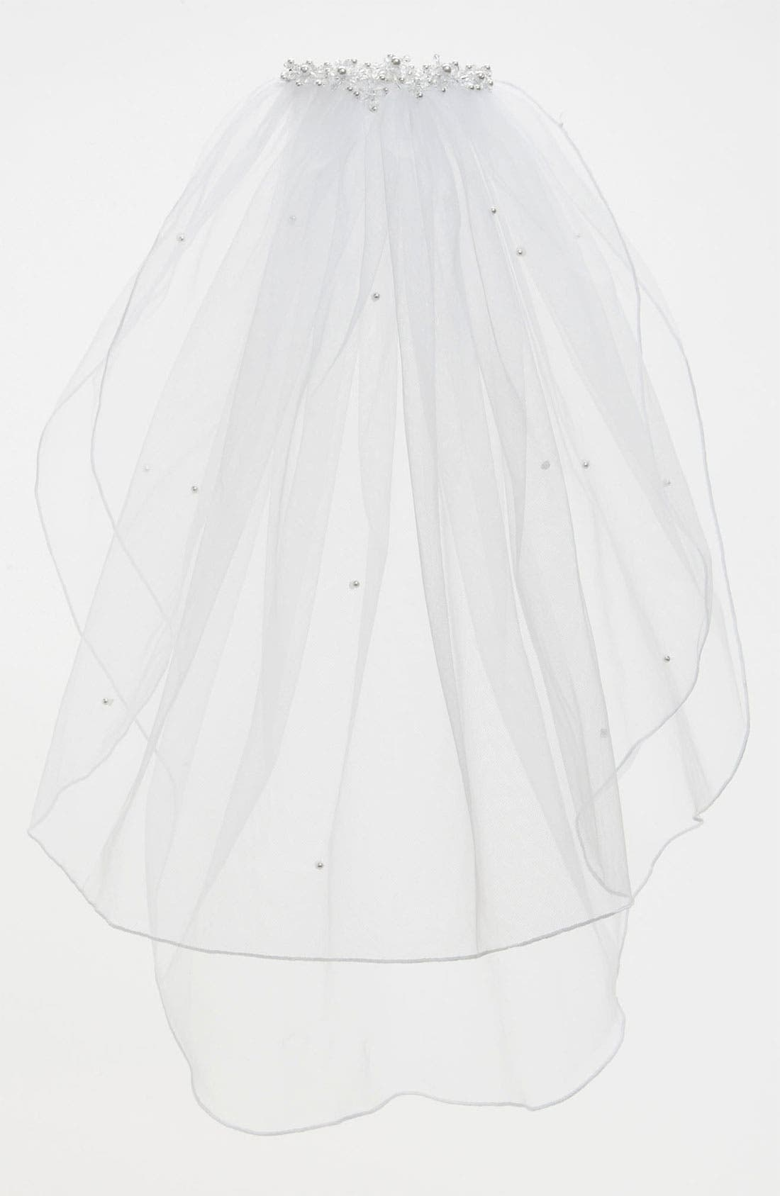 Beaded Crown & Veil, Main, color, WHITE