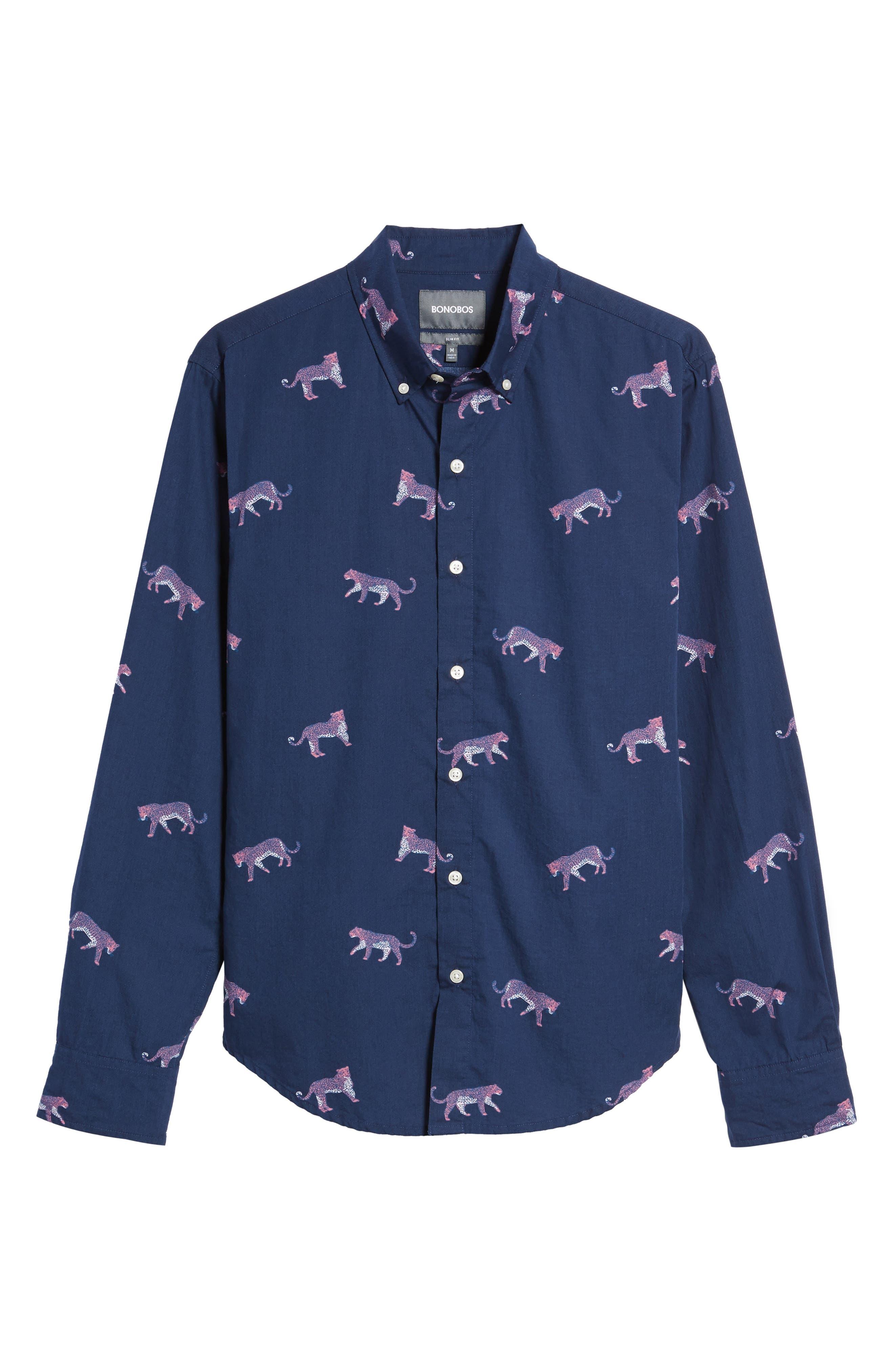 Slim Fit Washed Cheetah Print Sport Shirt,                             Alternate thumbnail 6, color,                             400
