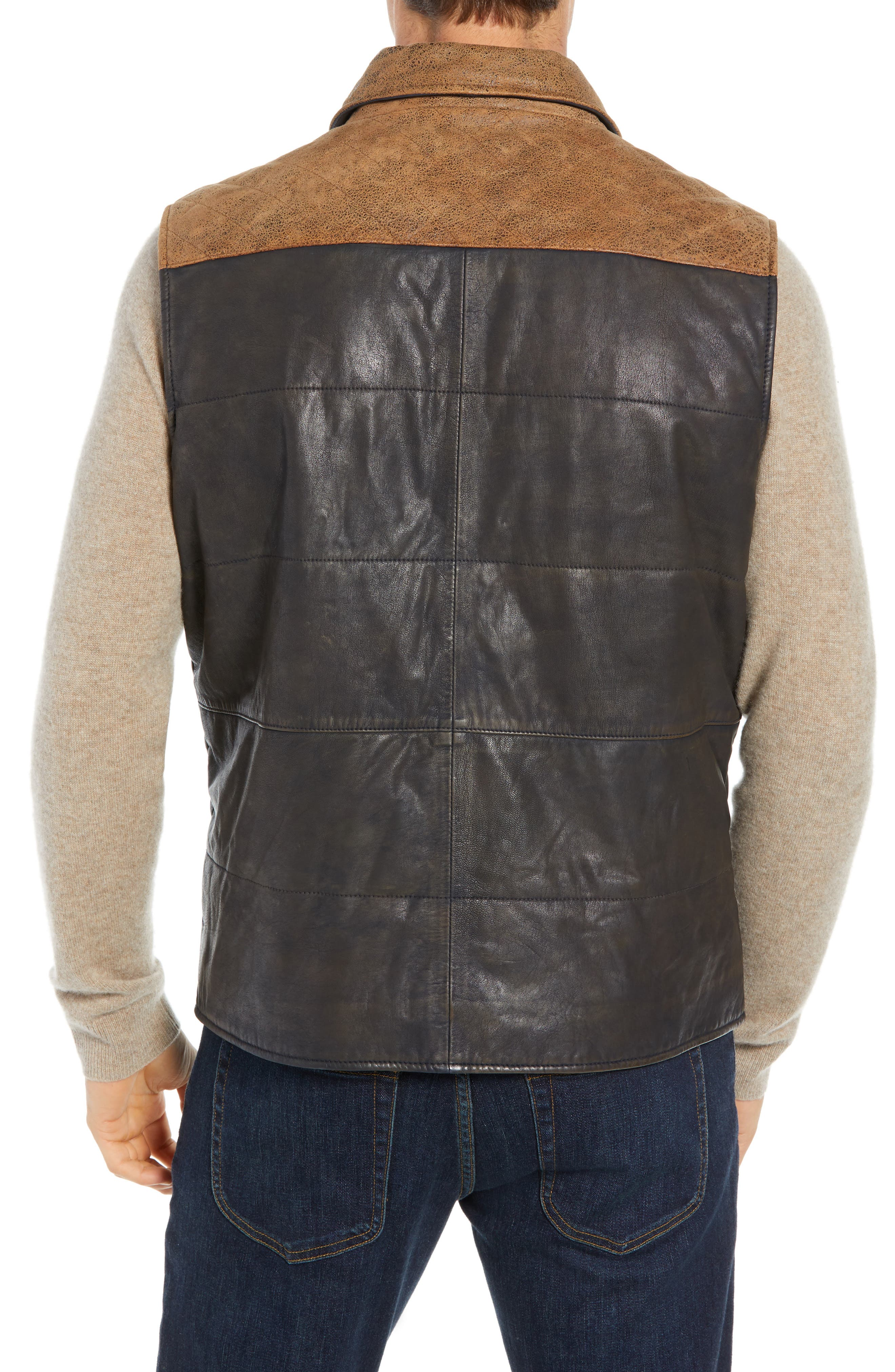 Colorblock Quilted Leather Vest,                             Alternate thumbnail 2, color,                             TAN