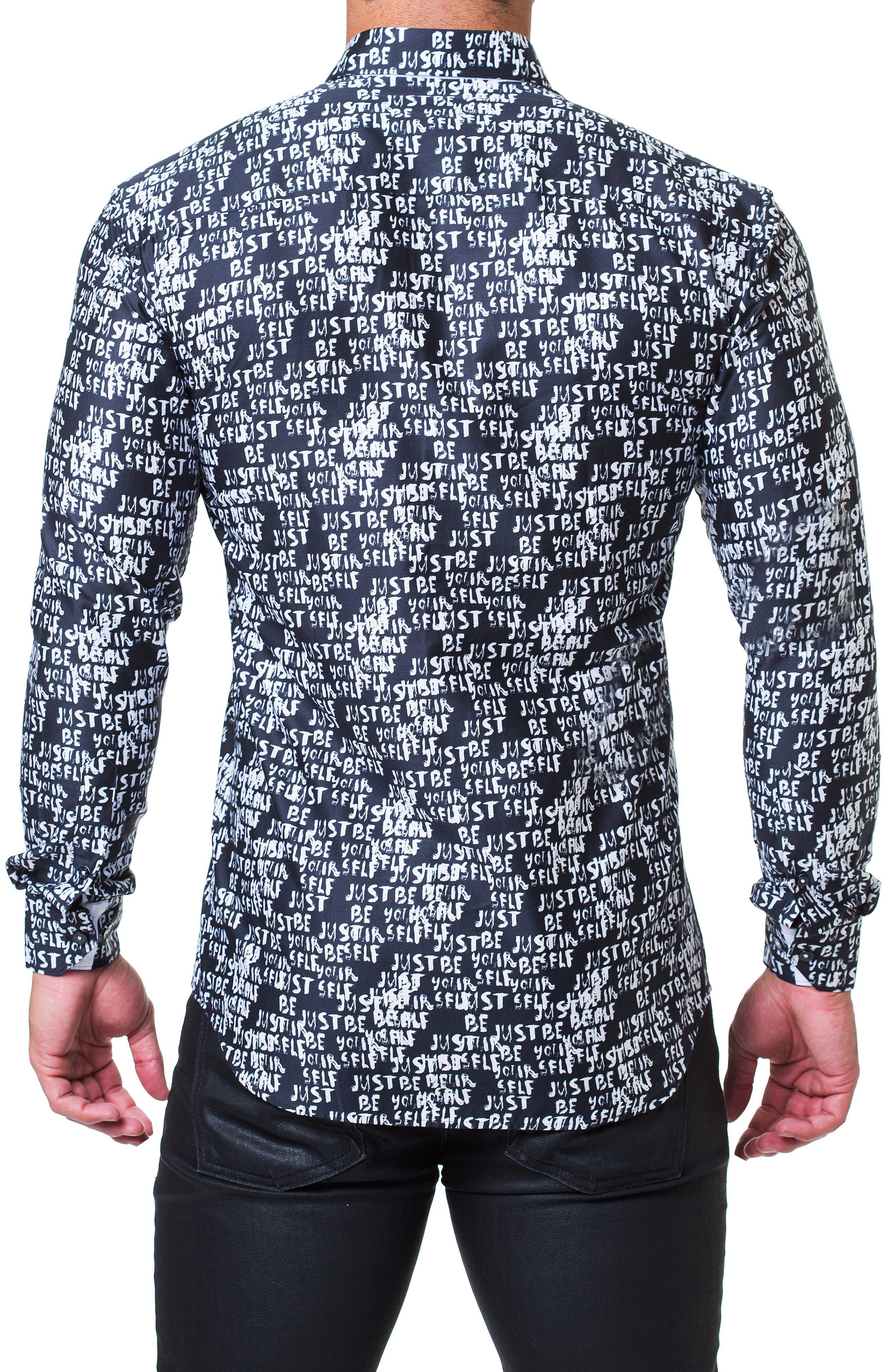 Fibonacci Just Be Yourself Print Sport Shirt,                             Alternate thumbnail 2, color,                             BLACK