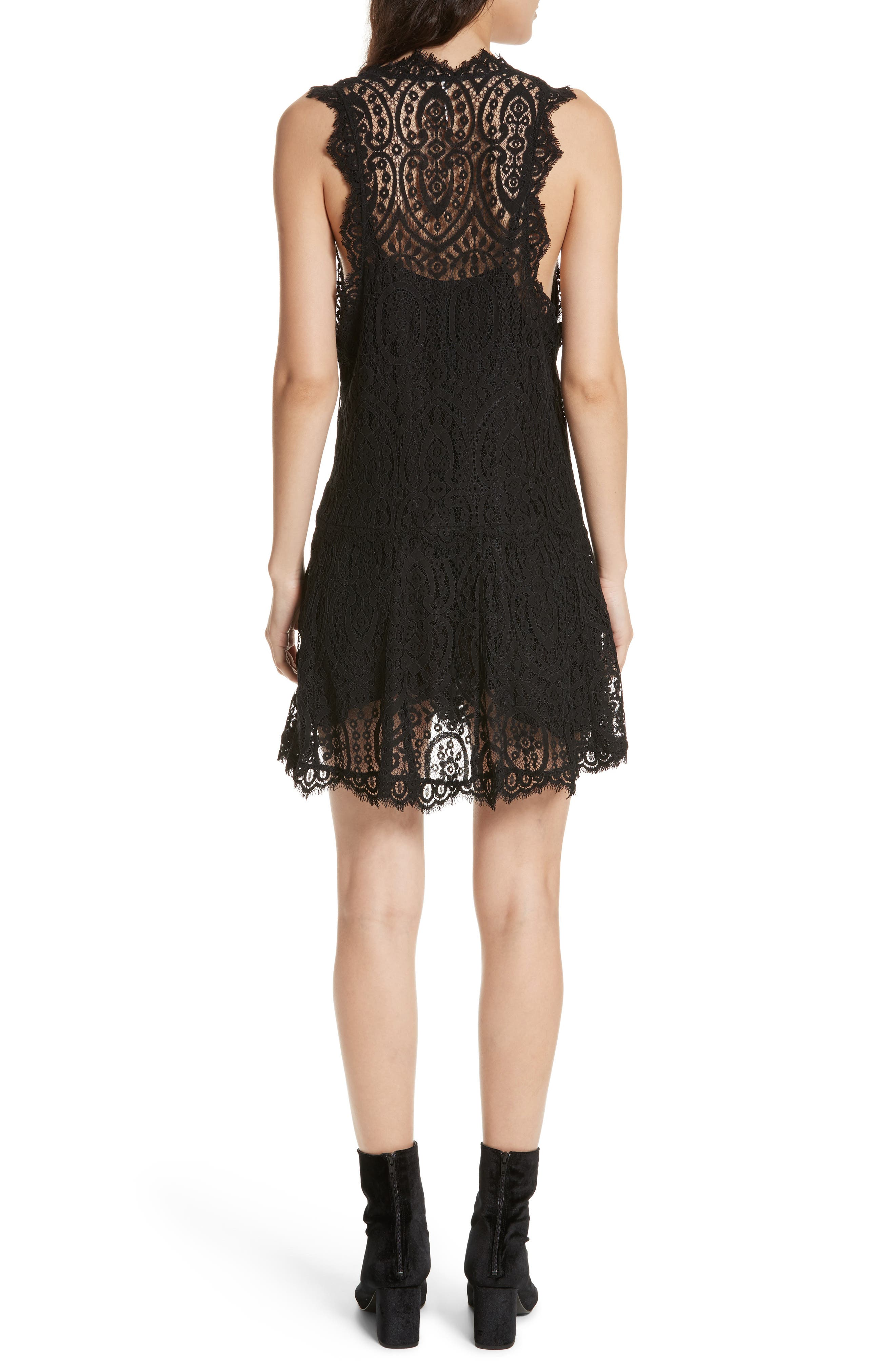 Heart in Two Lace Minidress,                             Alternate thumbnail 2, color,                             001