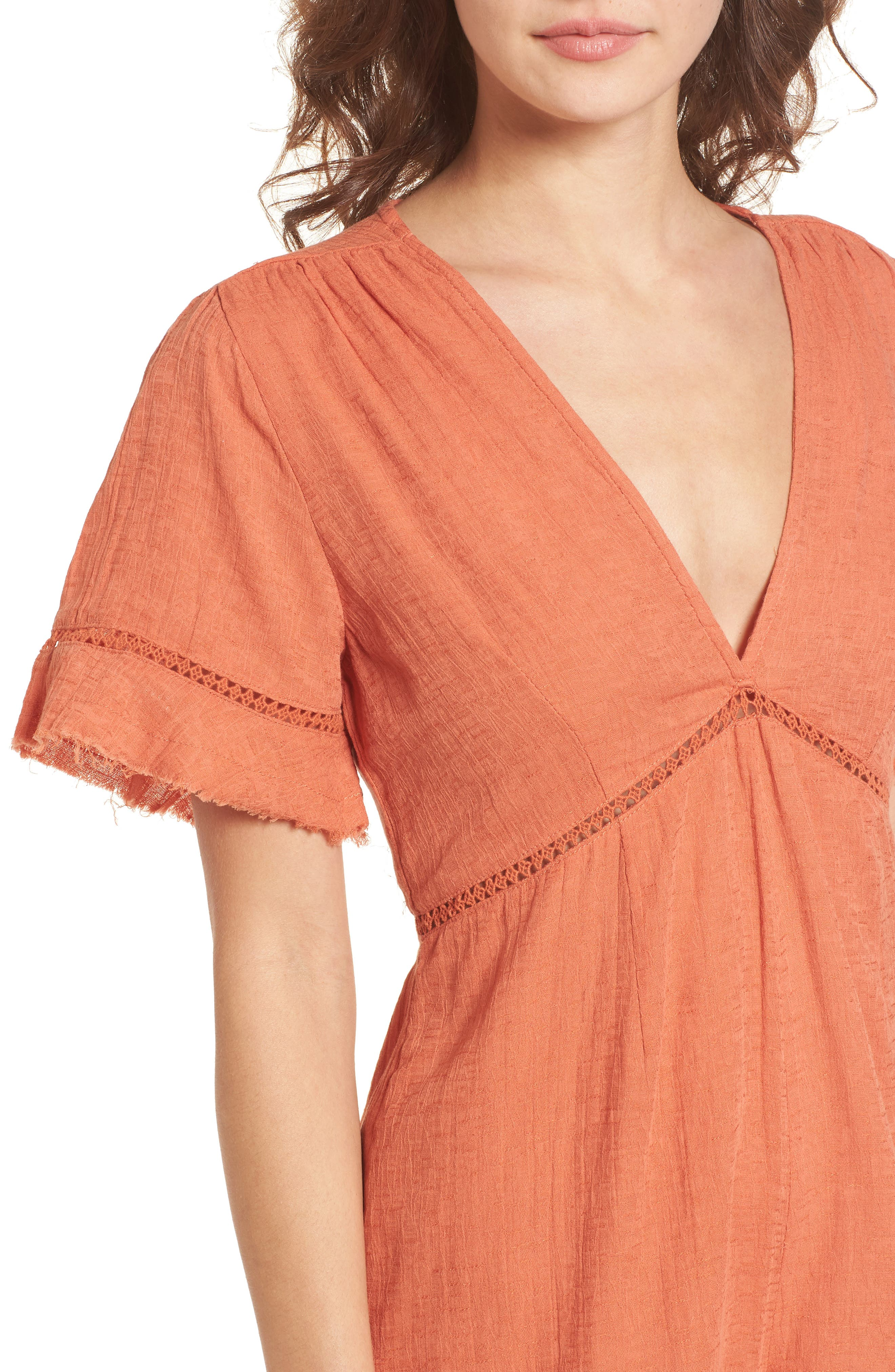 Highway to Highway Fray Edge Romper,                             Alternate thumbnail 4, color,                             950