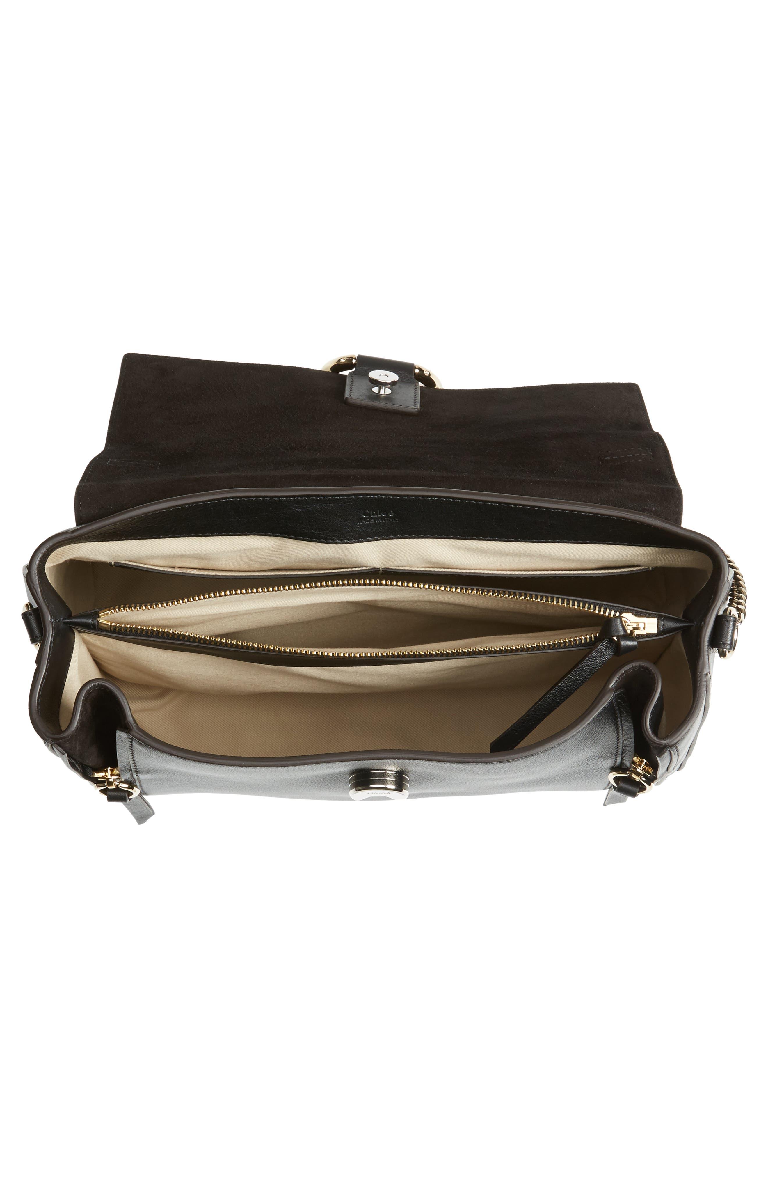 Medium Faye Leather Shoulder Bag,                             Alternate thumbnail 6, color,                             BLACK