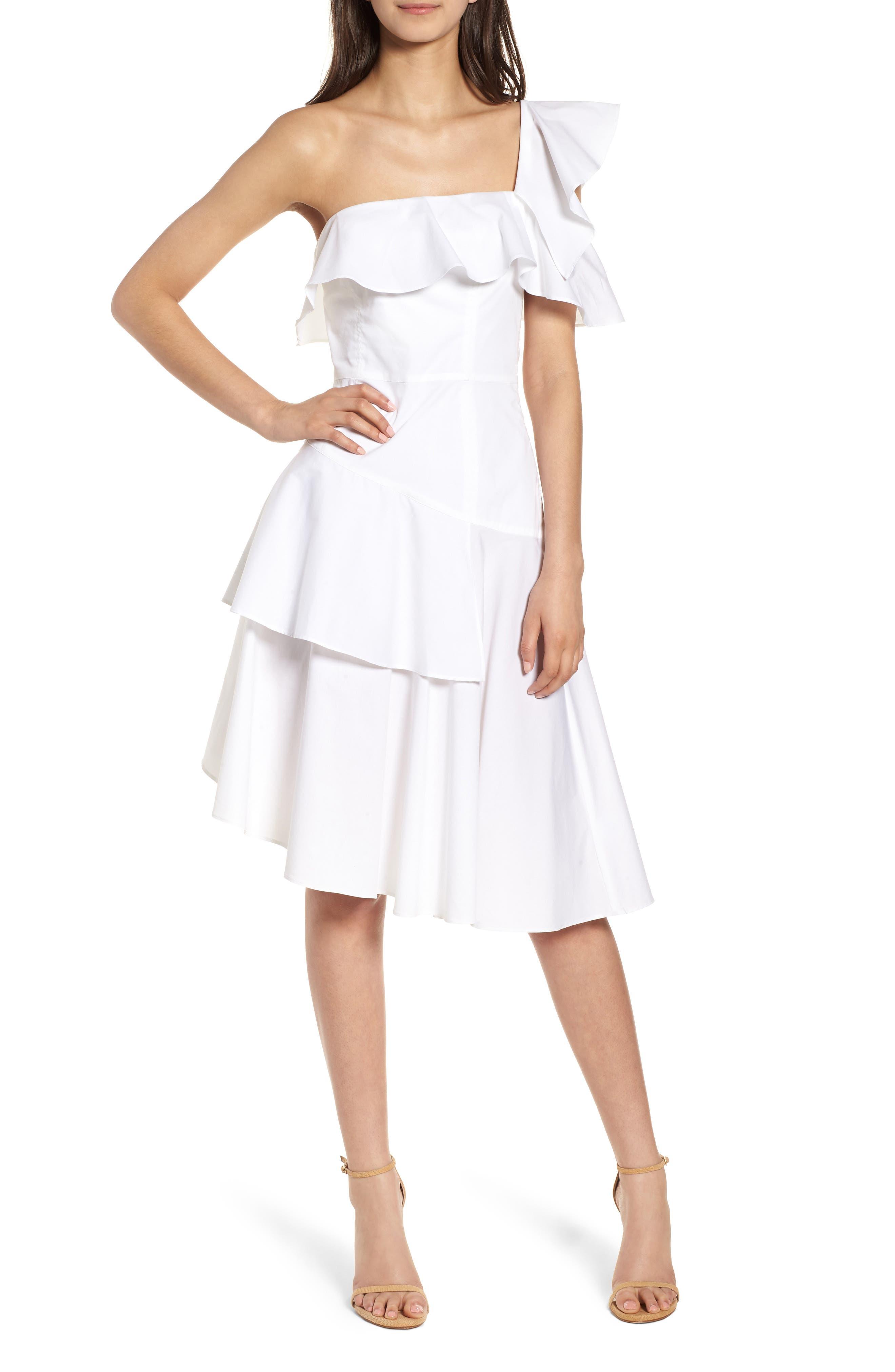 Ruffle One-Shoulder Dress,                             Alternate thumbnail 7, color,