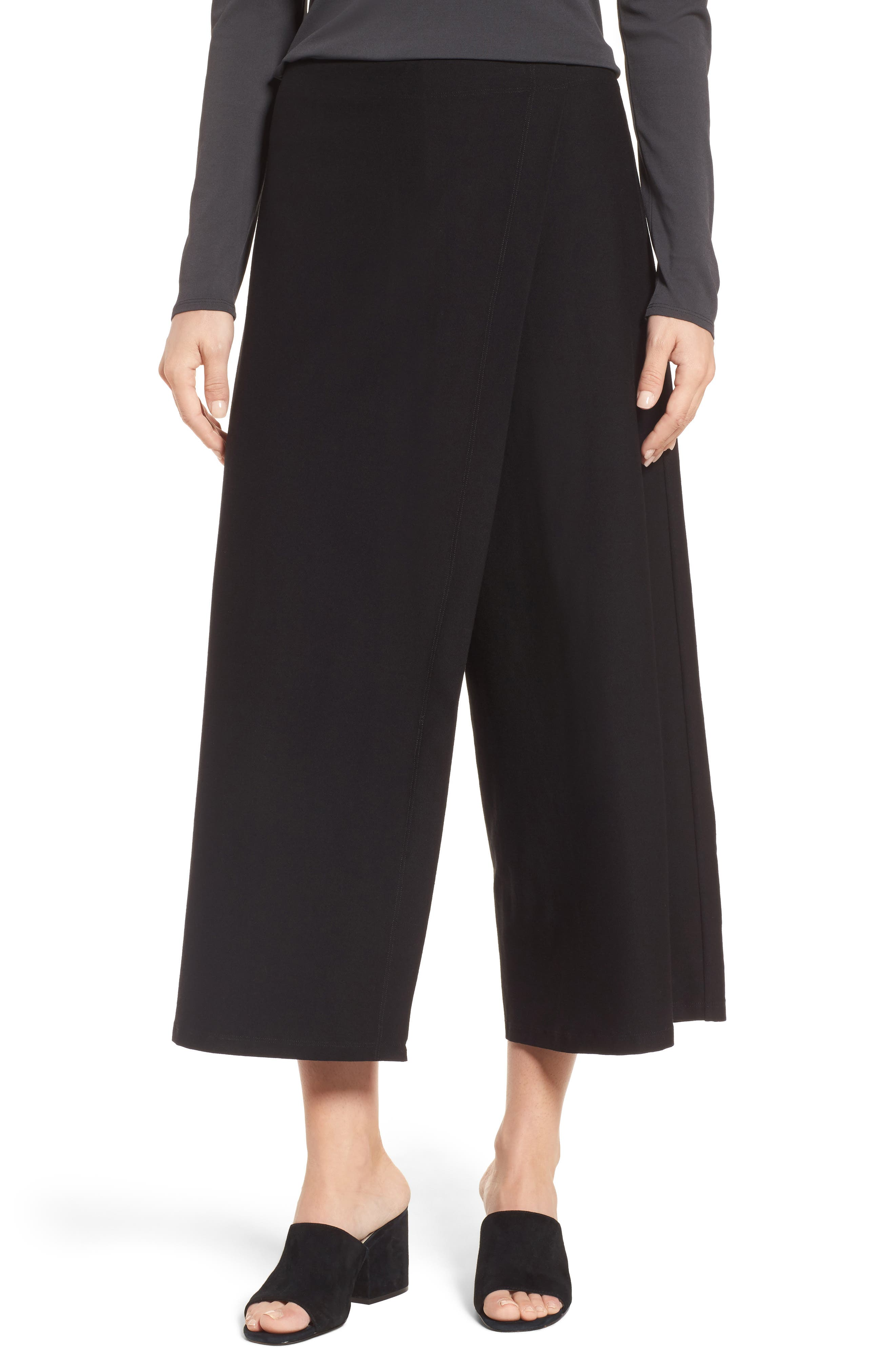 Crop Stretch Knit Pants,                         Main,                         color, 001
