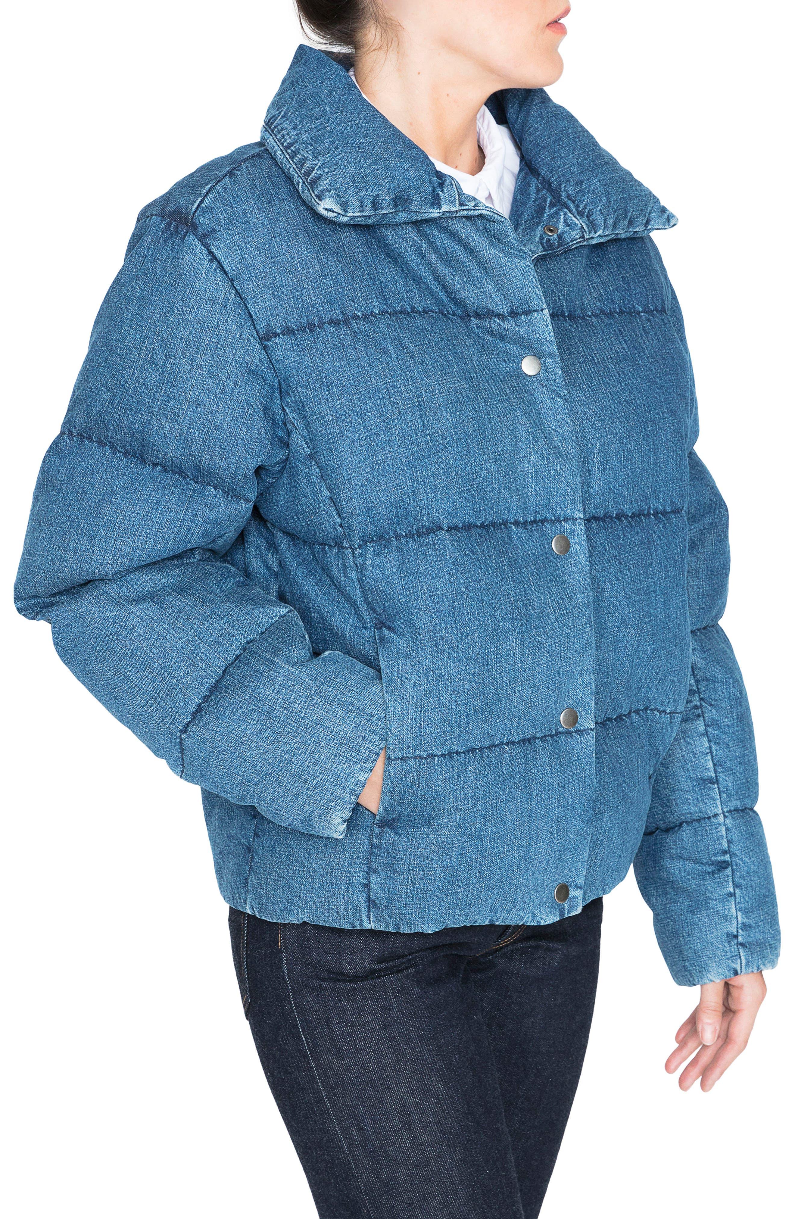 Denim Down Puffer Jacket,                             Alternate thumbnail 3, color,                             BLUE