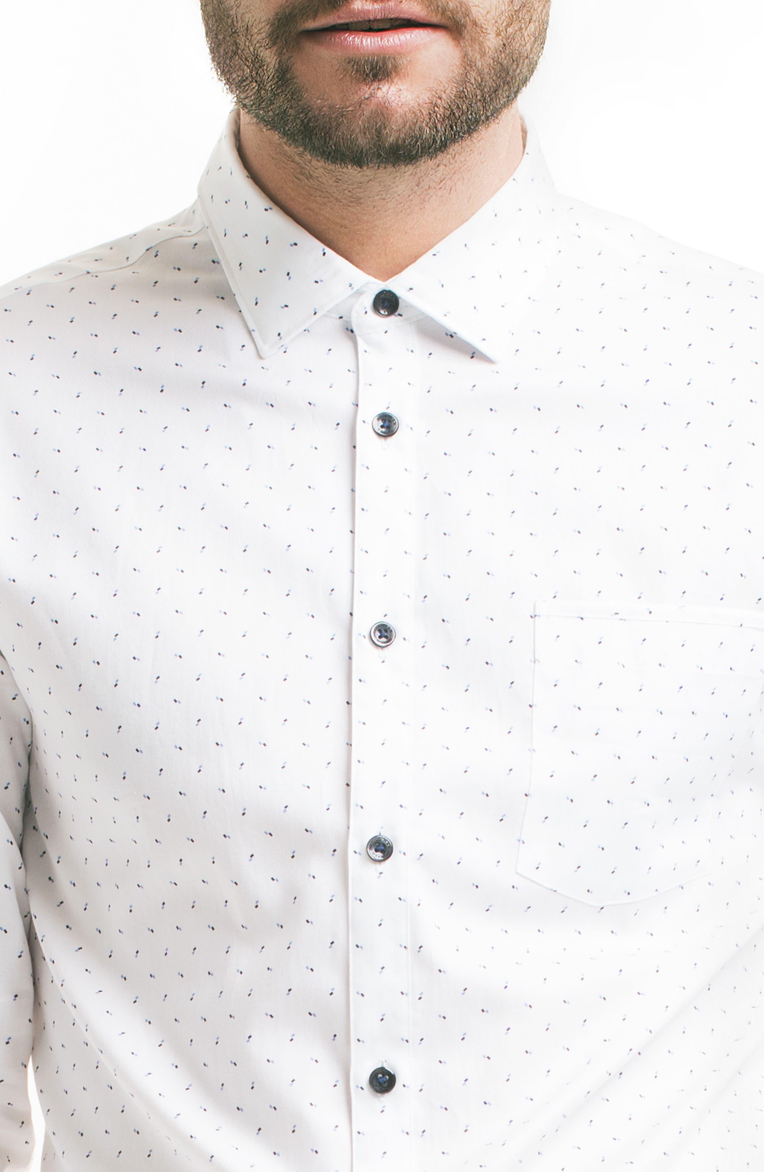 Slim Fit Pattern Sport Shirt,                             Alternate thumbnail 4, color,                             100