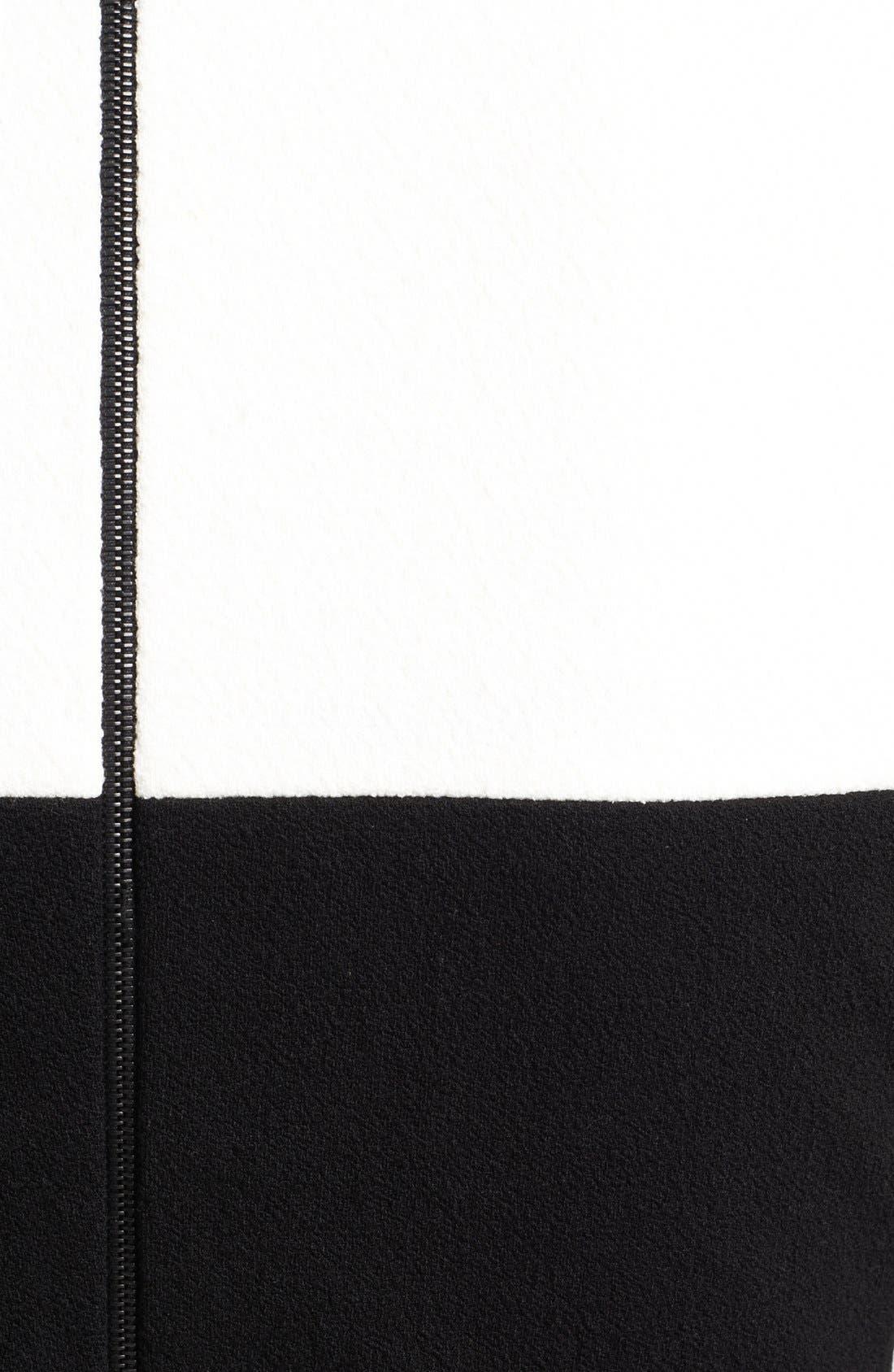Colorblock Stretch Pebble Crepe Dress,                             Alternate thumbnail 3, color,                             400