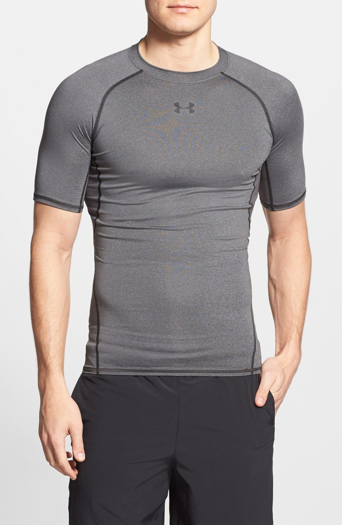 HeatGear<sup>®</sup> Compression Fit T-Shirt,                             Main thumbnail 1, color,                             CARBON HEATHER/ BLACK