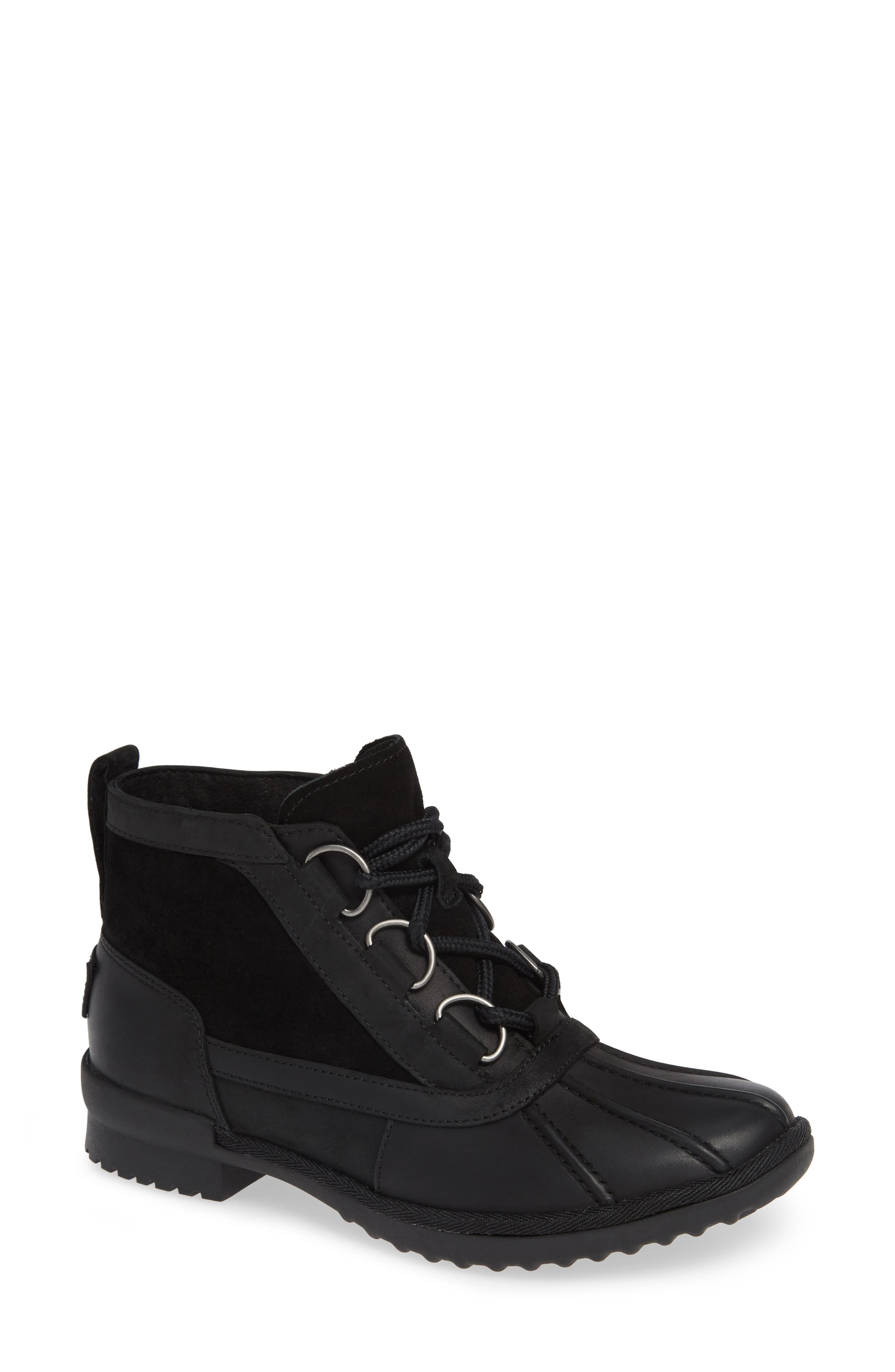 Heather Waterproof Lace-Up Bootie,                             Main thumbnail 1, color,                             BLACK LEATHER