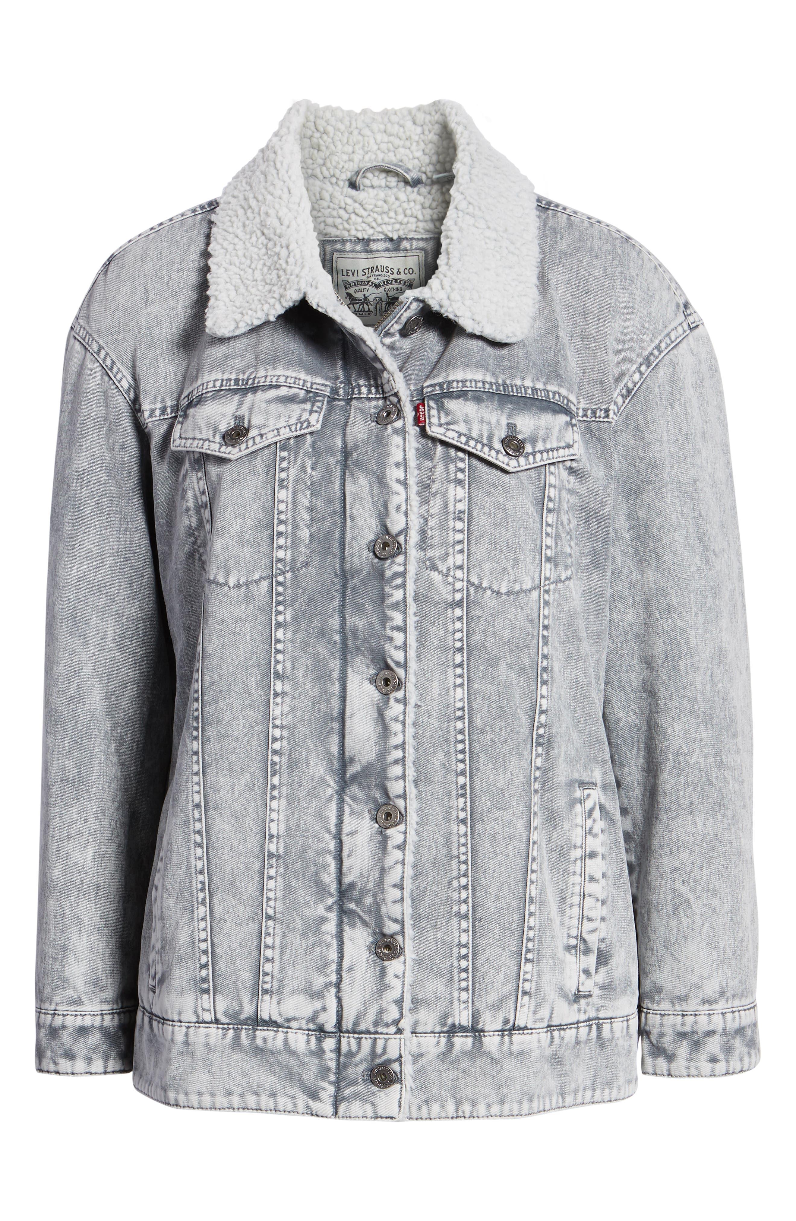 Levi's<sup>®</sup> Oversize Denim Trucker Jacket,                             Alternate thumbnail 6, color,                             GREY