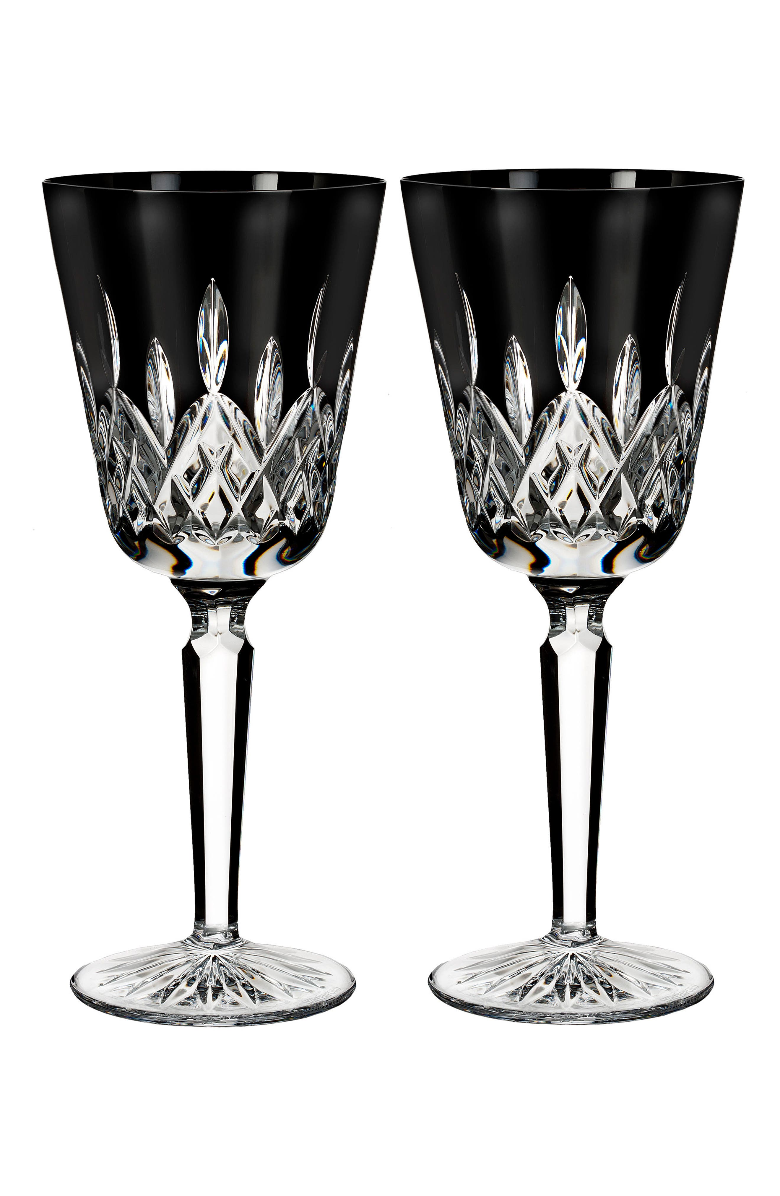 WATERFORD Lismore Diamond Set of 2 Black Lead Crystal Goblets, Main, color, 001