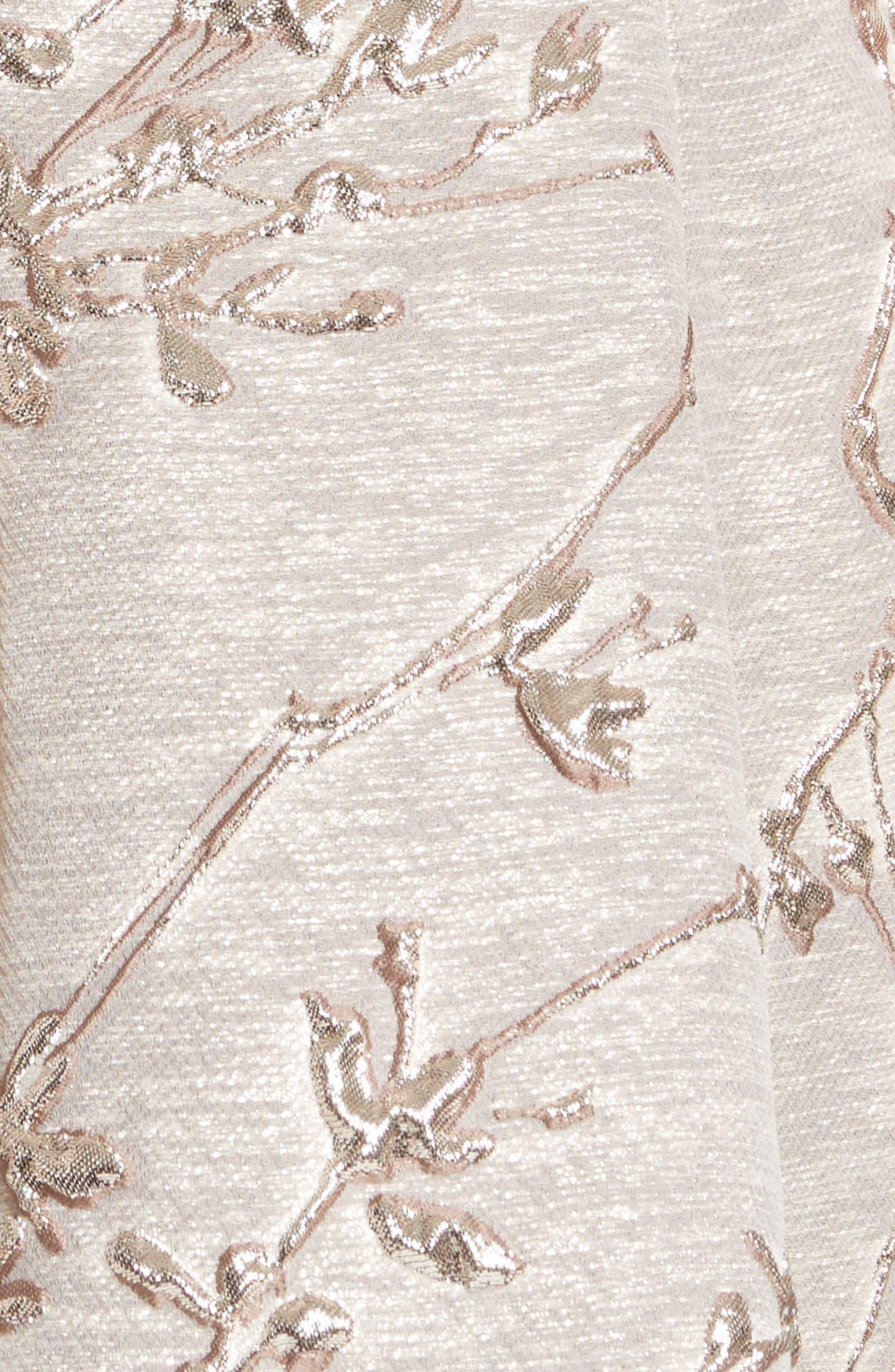Metallic Twig Jacquard Dress,                             Alternate thumbnail 5, color,                             PLATIN