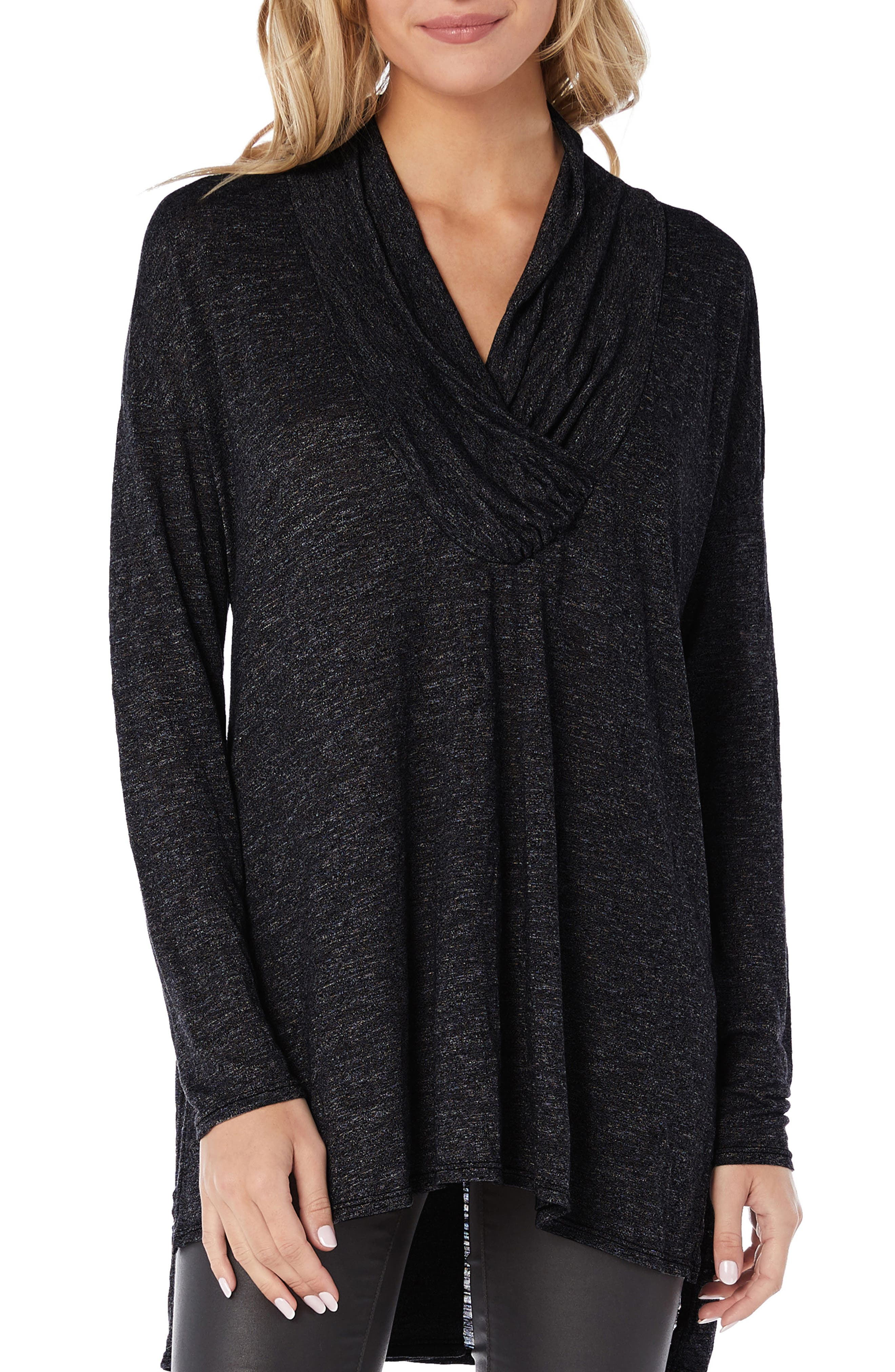 Brooklyn Surplice Jersey Tunic Top,                         Main,                         color, BLACK