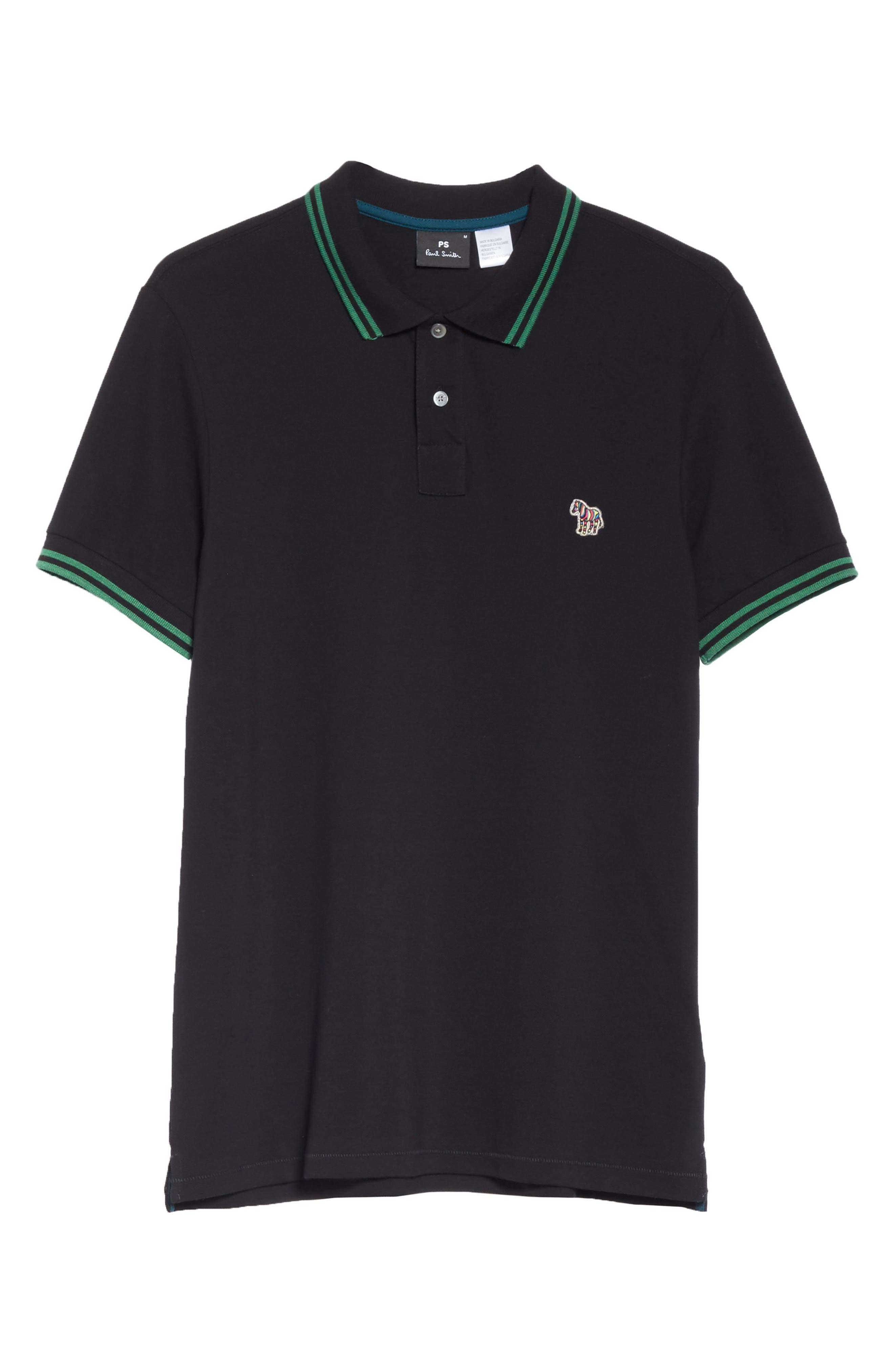 PS PAUL SMITH,                             Piped Collar Polo,                             Alternate thumbnail 6, color,                             BLACK