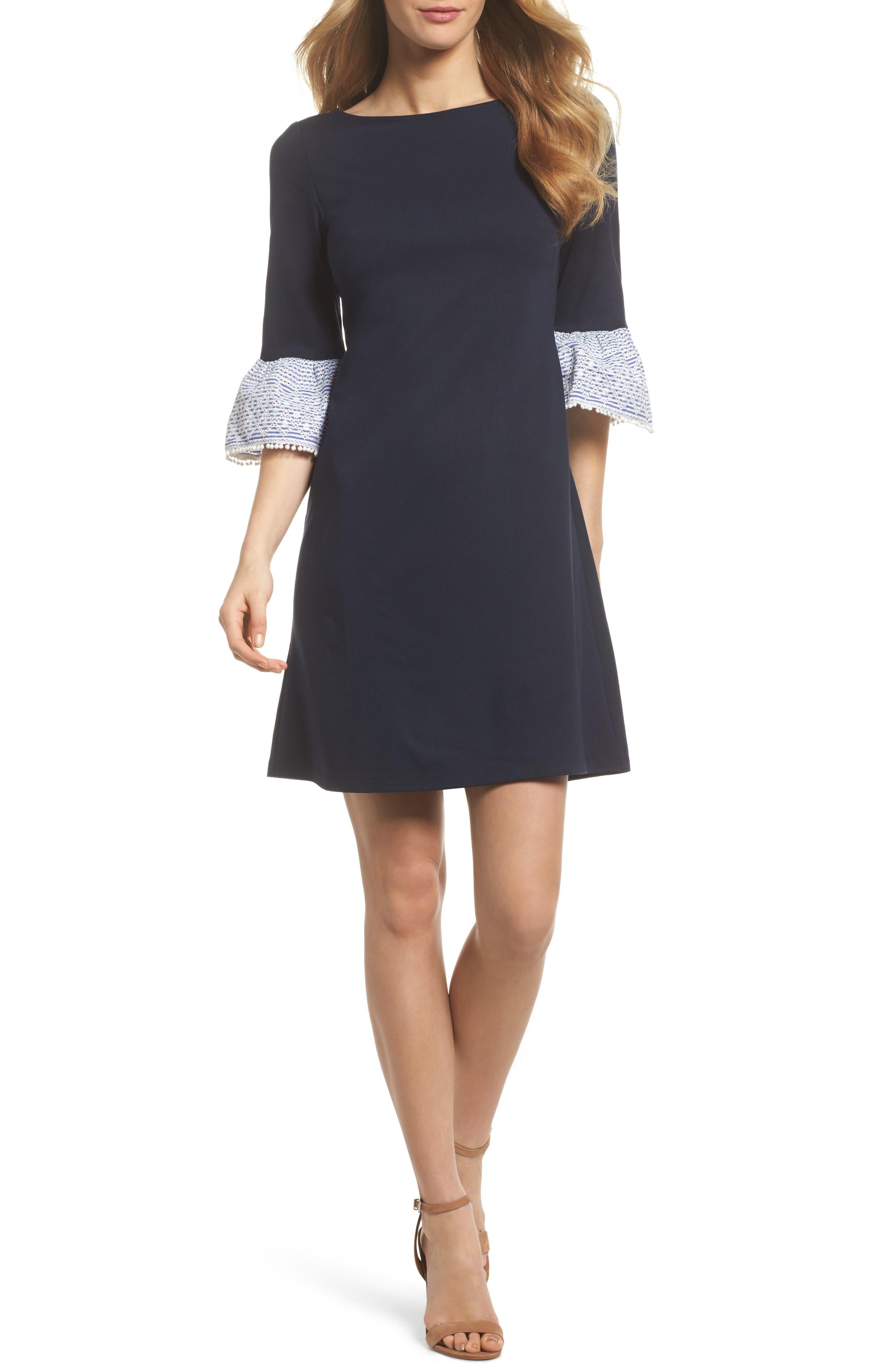 Flare Cuff Shift Dress,                         Main,                         color, 410