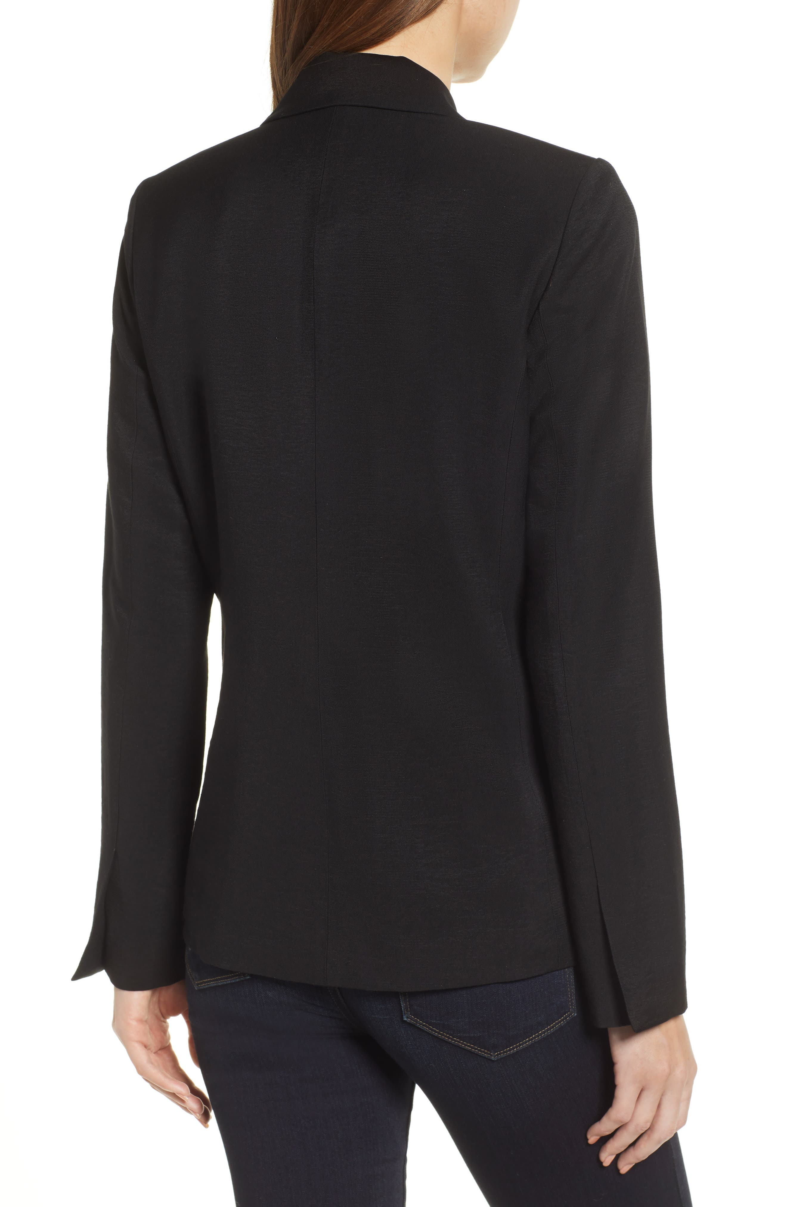 Single Button Blazer,                             Alternate thumbnail 2, color,                             BLACK