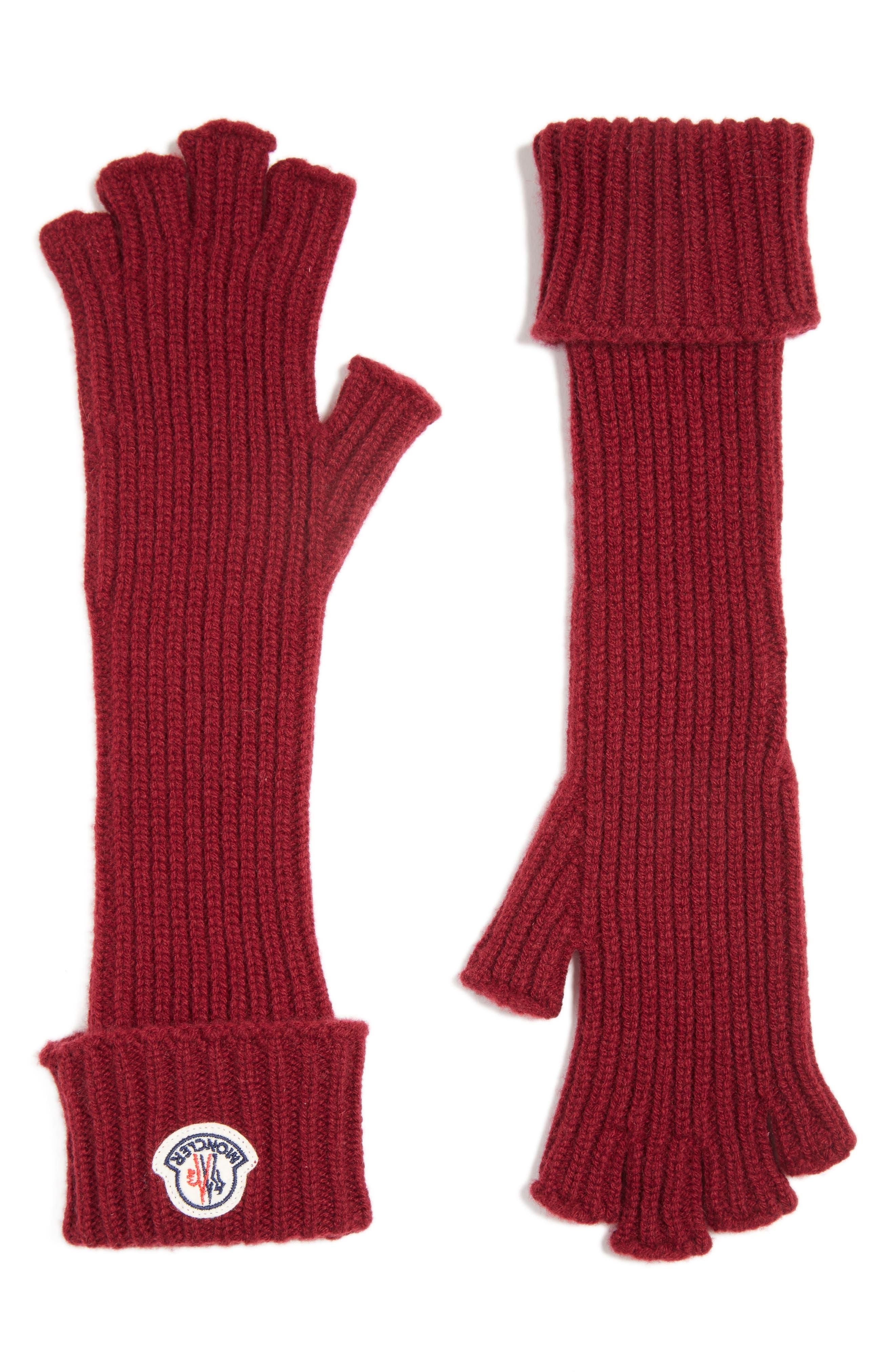 Guanti Wool & Cashmere Long Fingerless Gloves,                             Alternate thumbnail 2, color,                             BURGUNDY