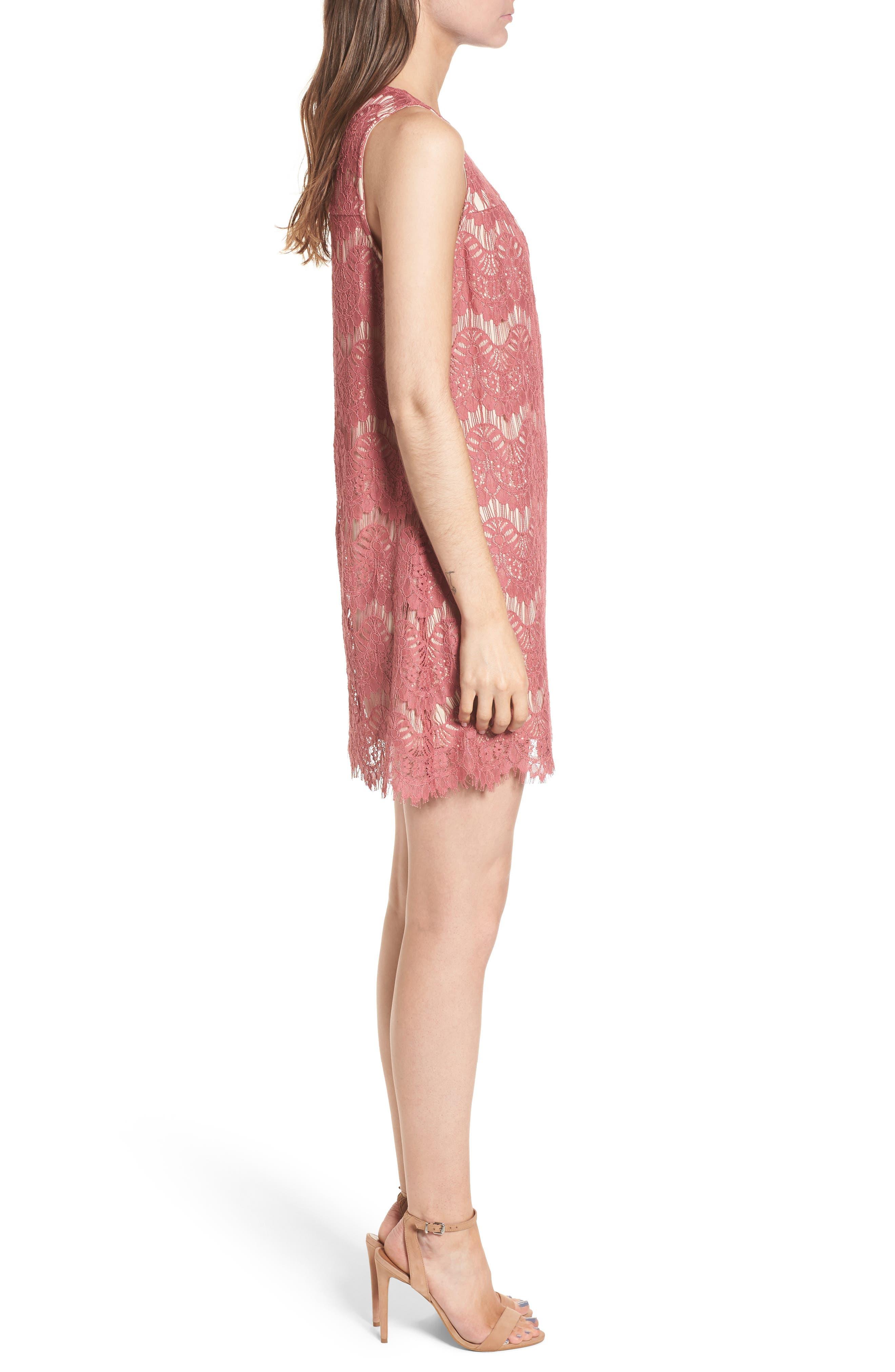Lace Shift Dress,                             Alternate thumbnail 3, color,                             650