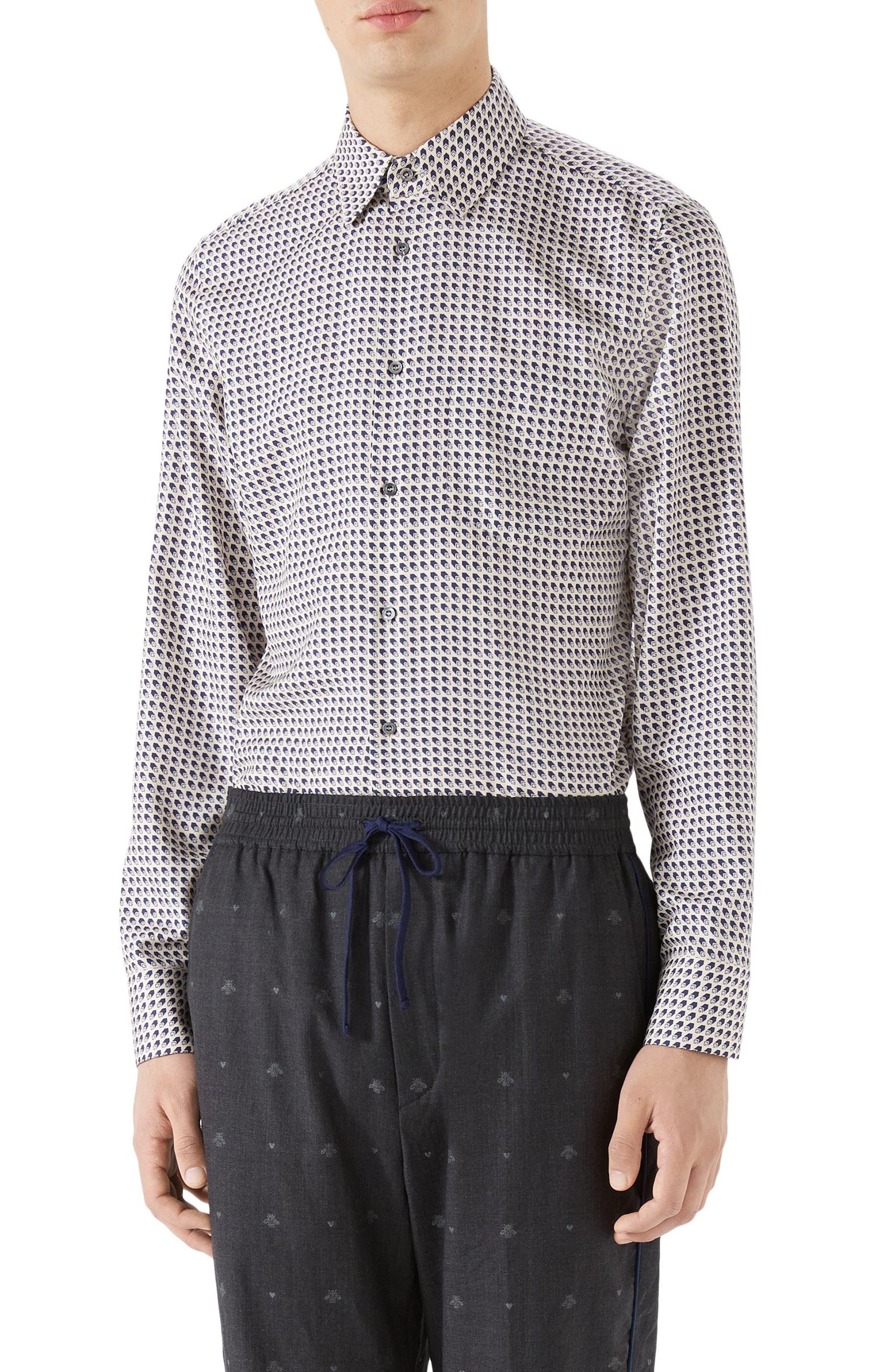 G-Shadow Print Silk Sport Shirt,                         Main,                         color, BLUE
