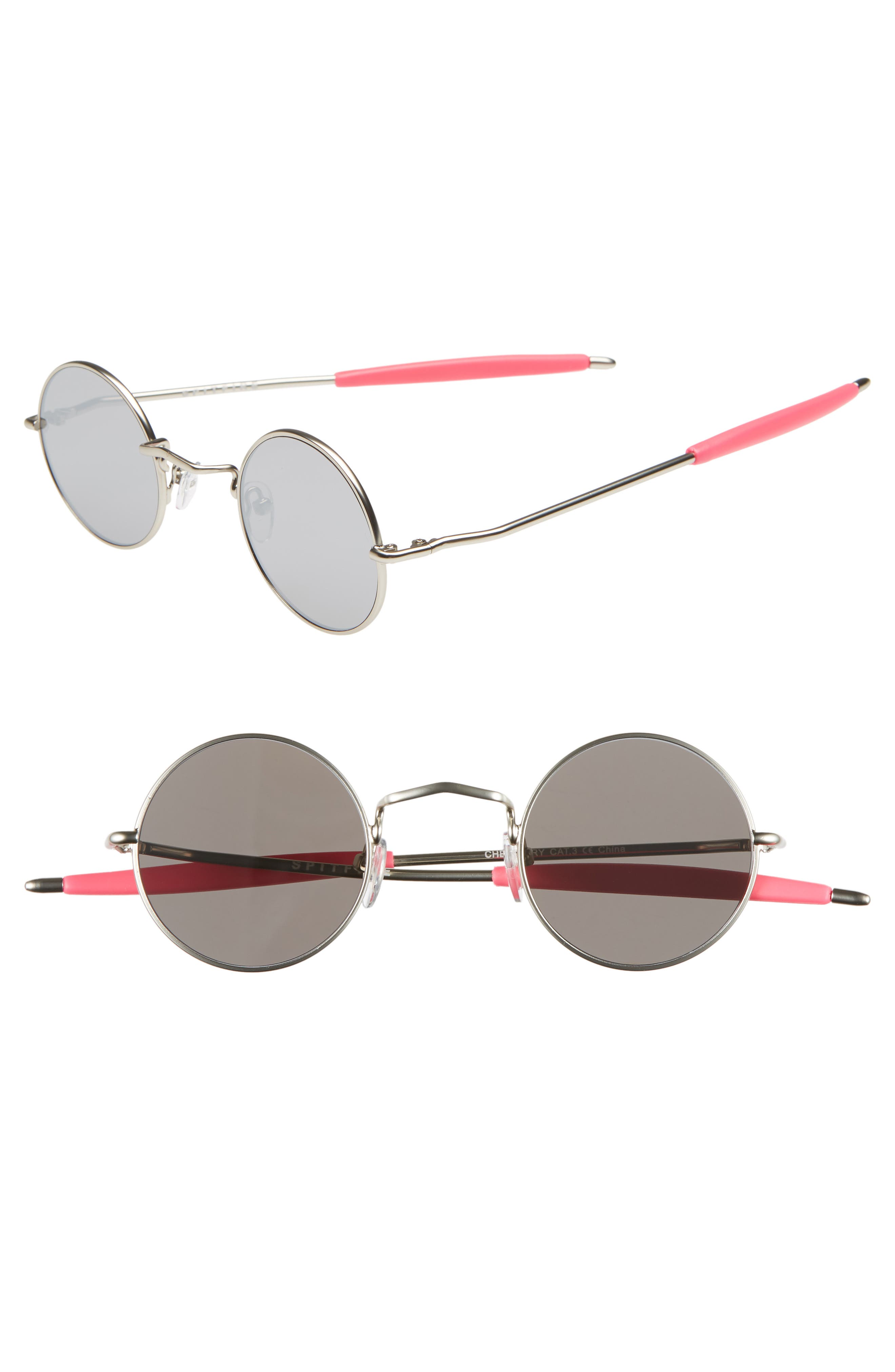 SPITFIRE Chemistry 42Mm Round Mirrored Sunglasses - Silver/ Silver Mirror