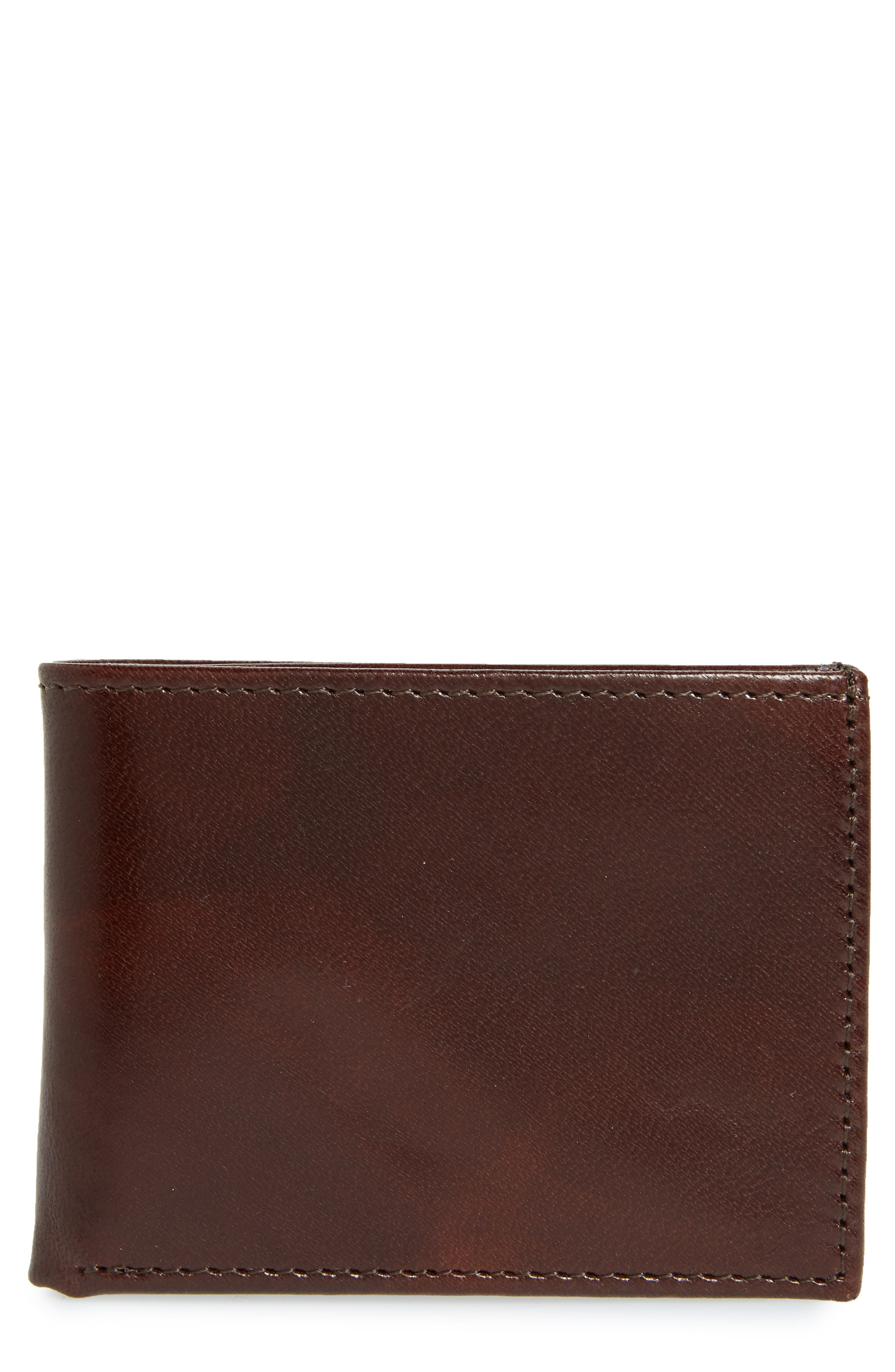 Leather Wallet,                         Main,                         color, BROWN
