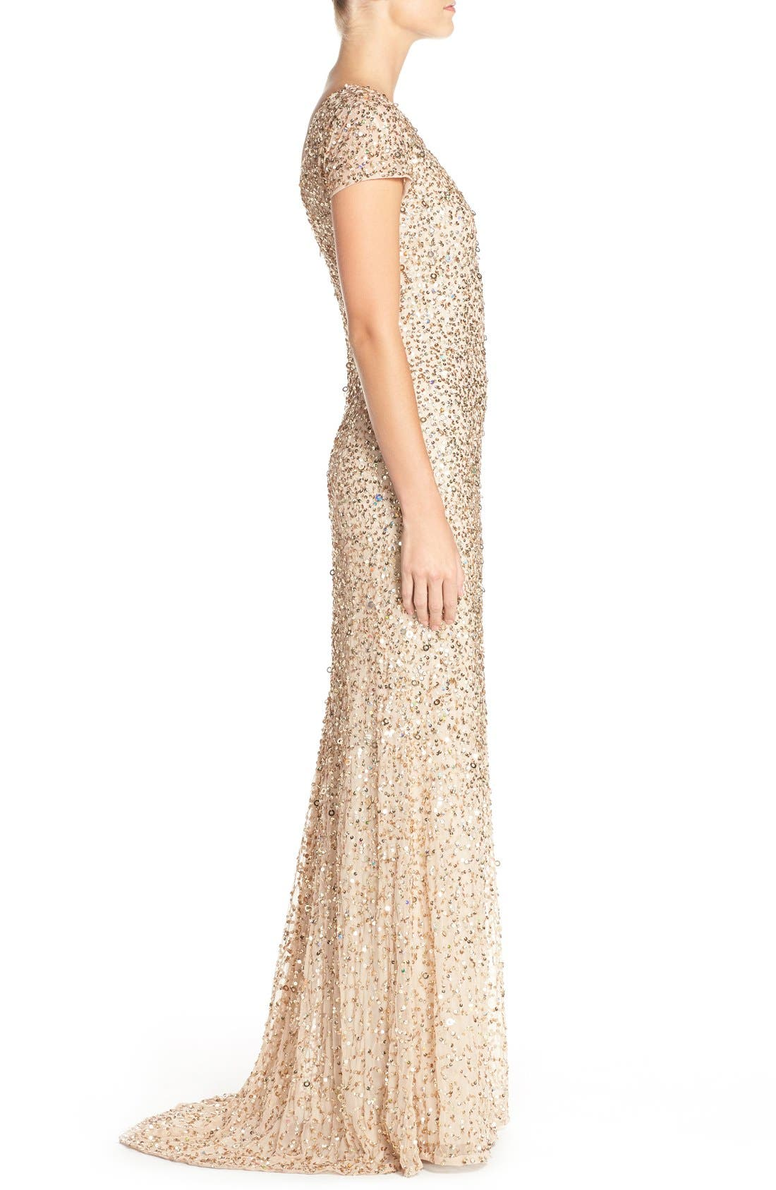 Short Sleeve Sequin Mesh Gown,                             Alternate thumbnail 10, color,                             CHAMPAGNE/ GOLD