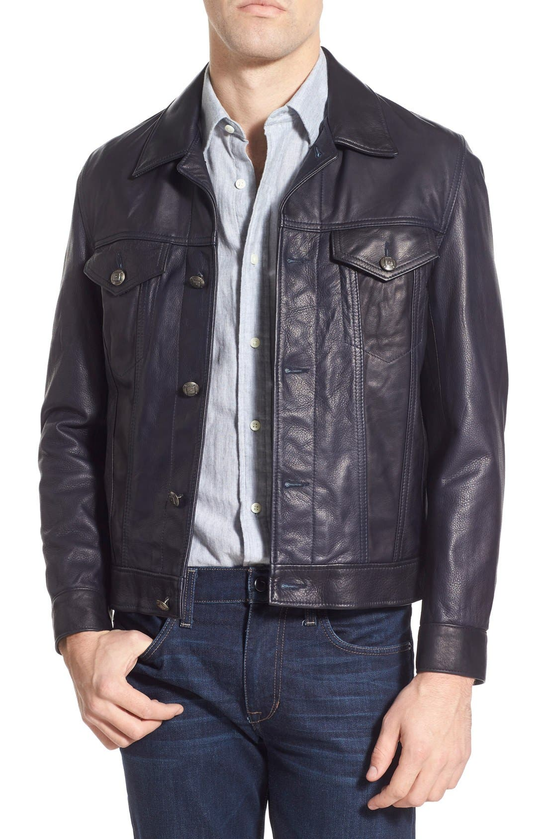 SCHOTT NYC,                             Washed Leather Trucker Jacket,                             Main thumbnail 1, color,                             410