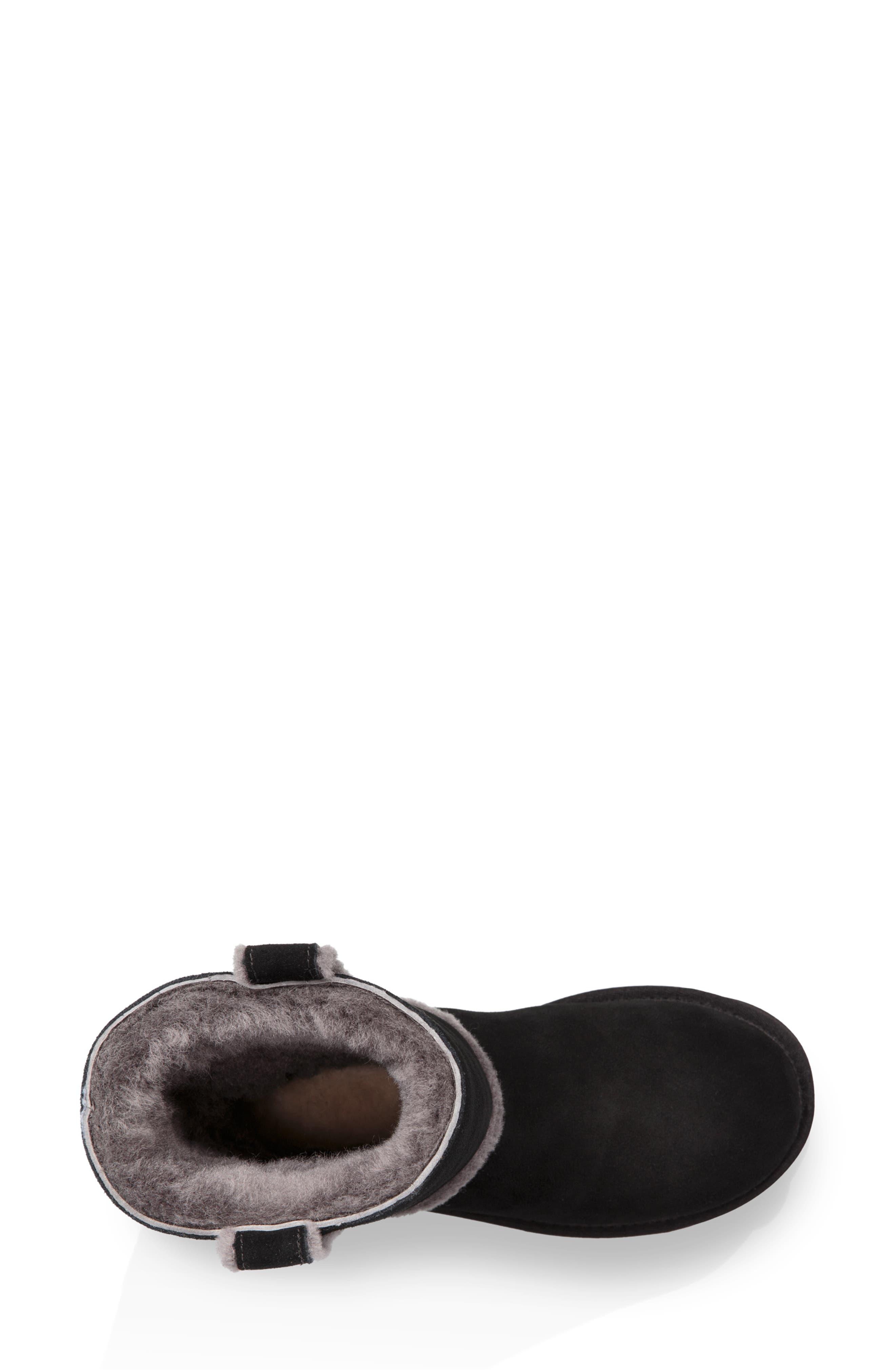 Classic Short Spill Seam Genuine Shearling Boot,                             Alternate thumbnail 4, color,                             BLACK