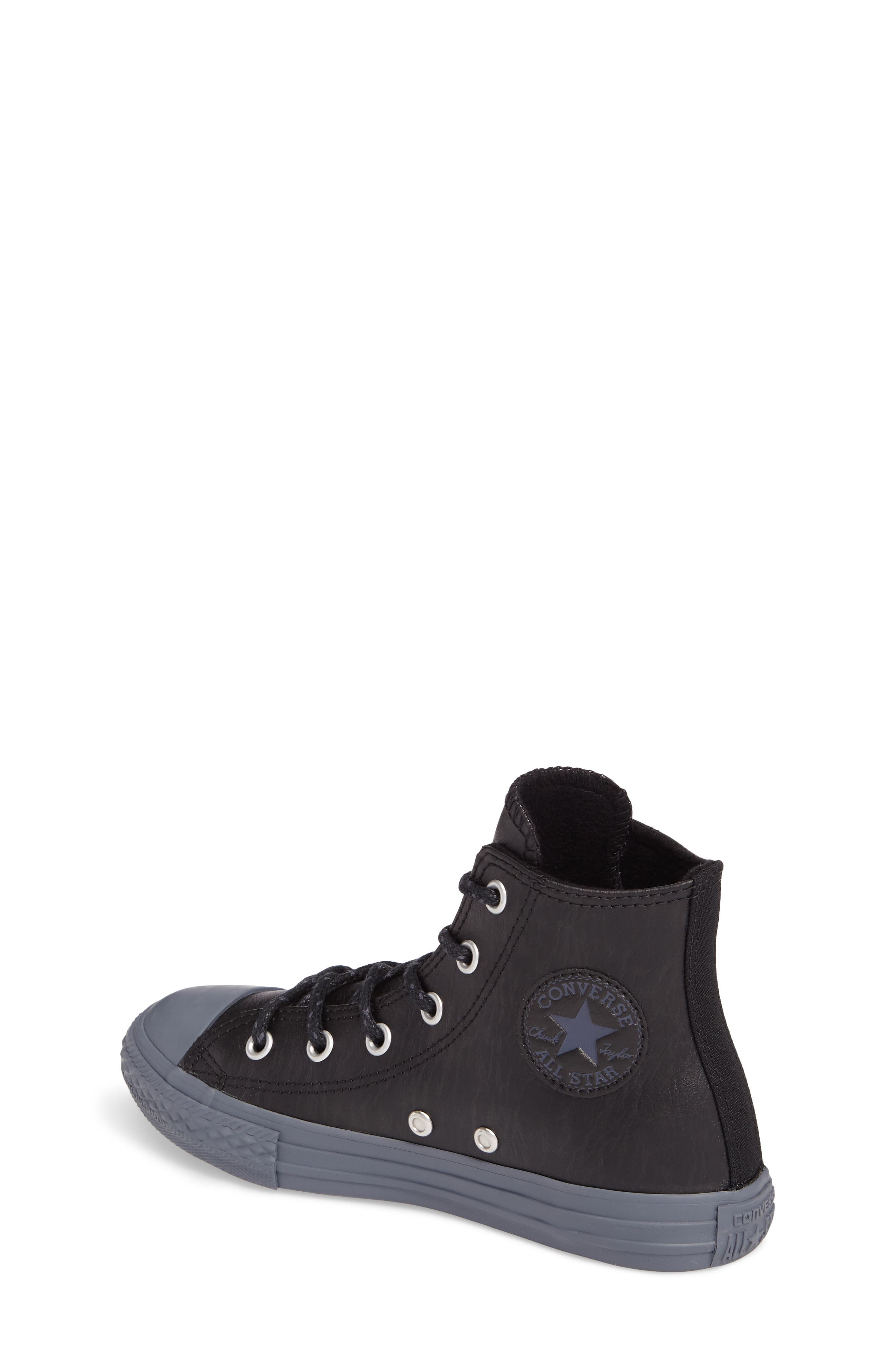 Chuck Taylor<sup>®</sup> All Star<sup>®</sup> Leather High Top Sneaker,                             Alternate thumbnail 2, color,                             001