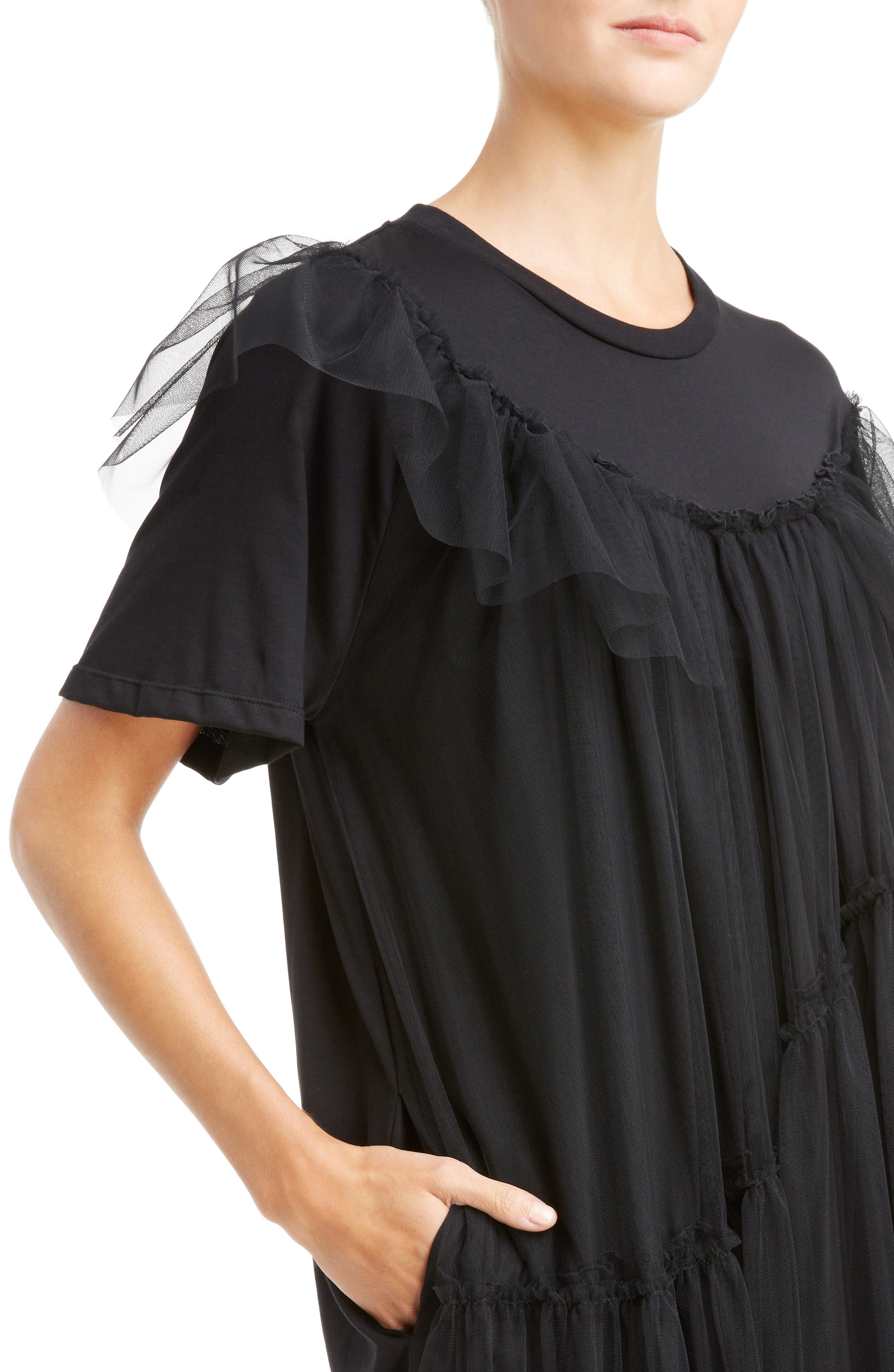 Long Jersey & Tulle T-Shirt Dress,                             Alternate thumbnail 4, color,                             001