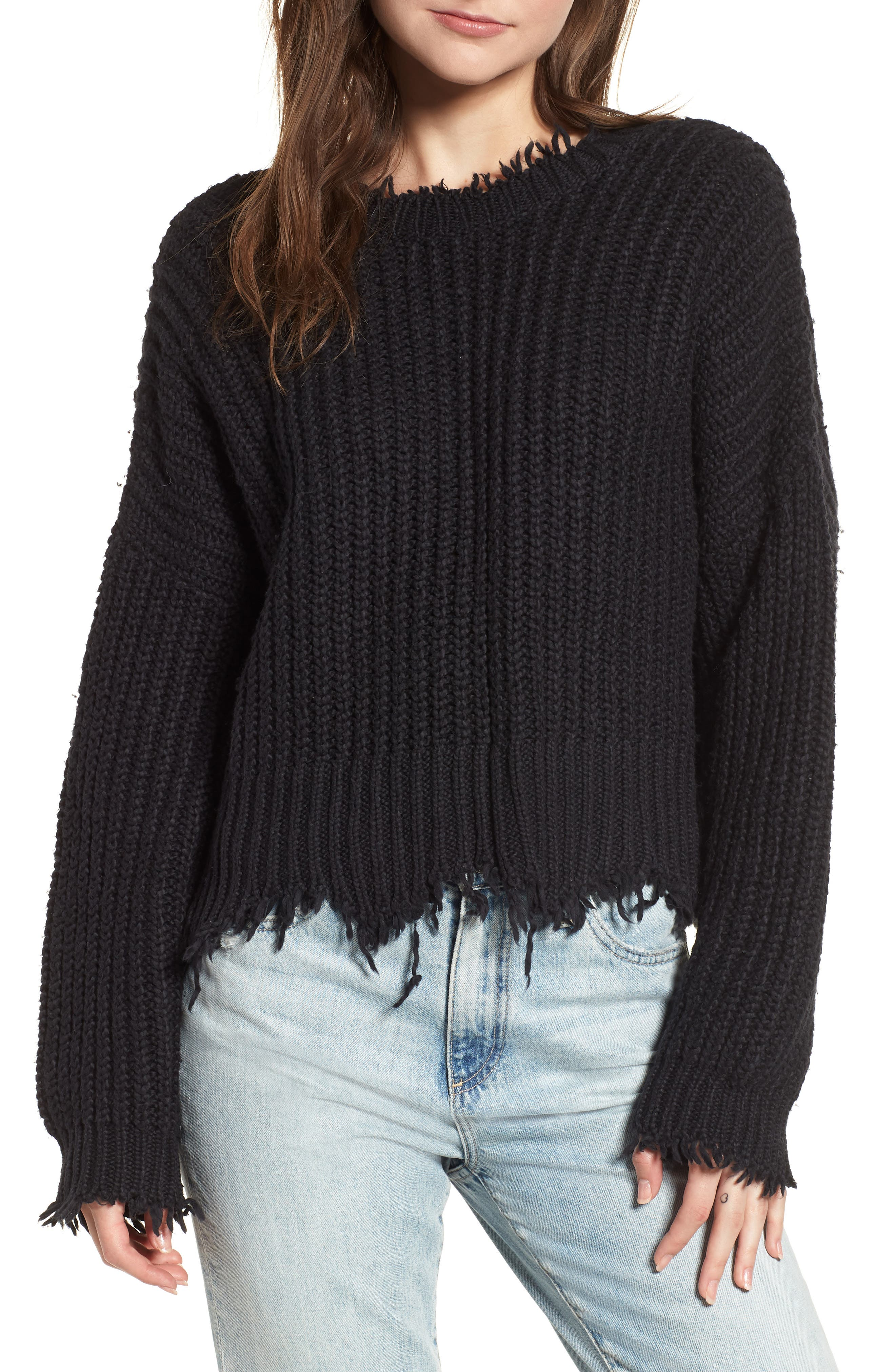 Palmetto Frayed Sweater,                         Main,                         color, BLACK
